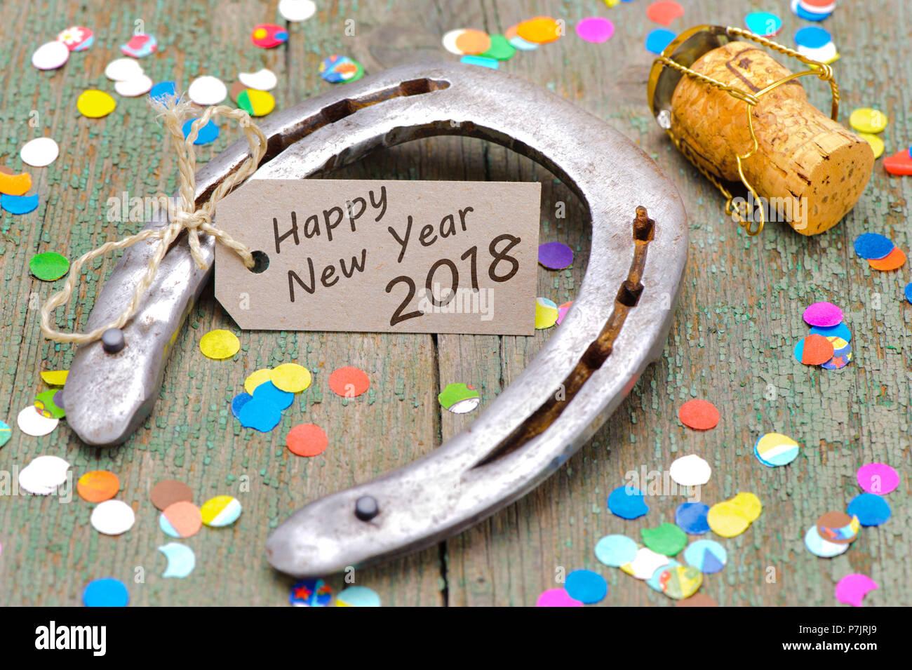 horseshoe with happy new year wishes 2018