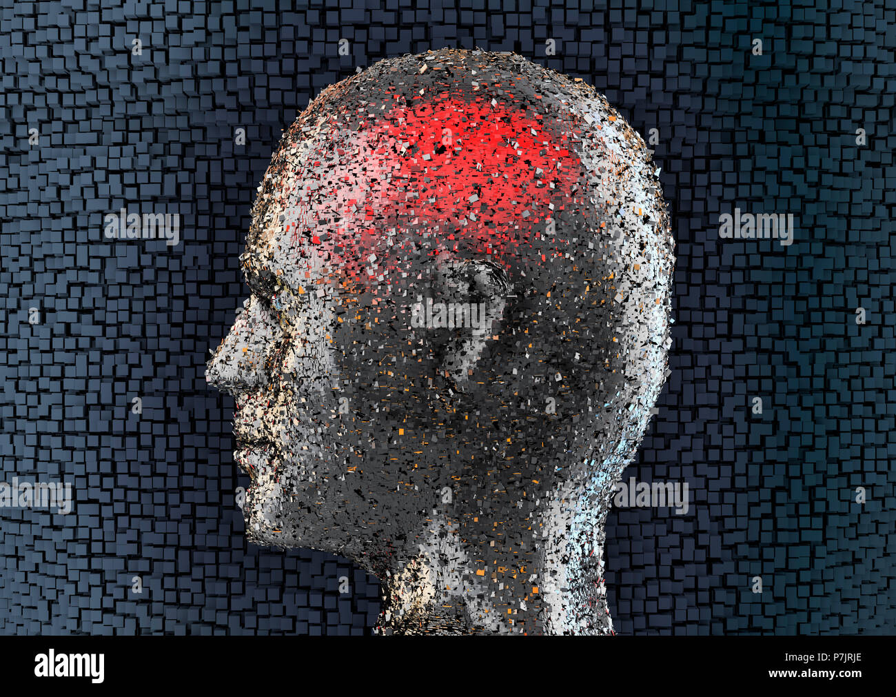 Artificial head made of small silver plate fragments, side view, dark blue squarish grid in the background - Stock Image