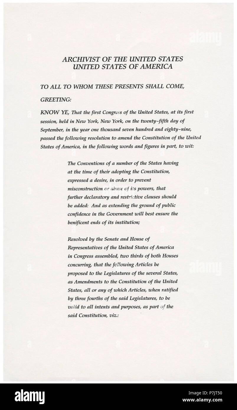 27th Amendment Pg1of3 Ac Stock Photo Alamy