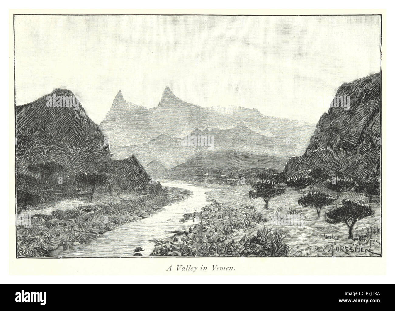 231 A valley in Yemen. - Stock Image