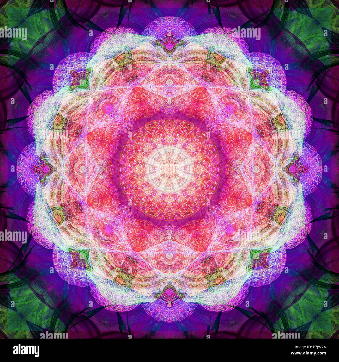 Photographic flower mandala, pink, purple, green, Stock Photo