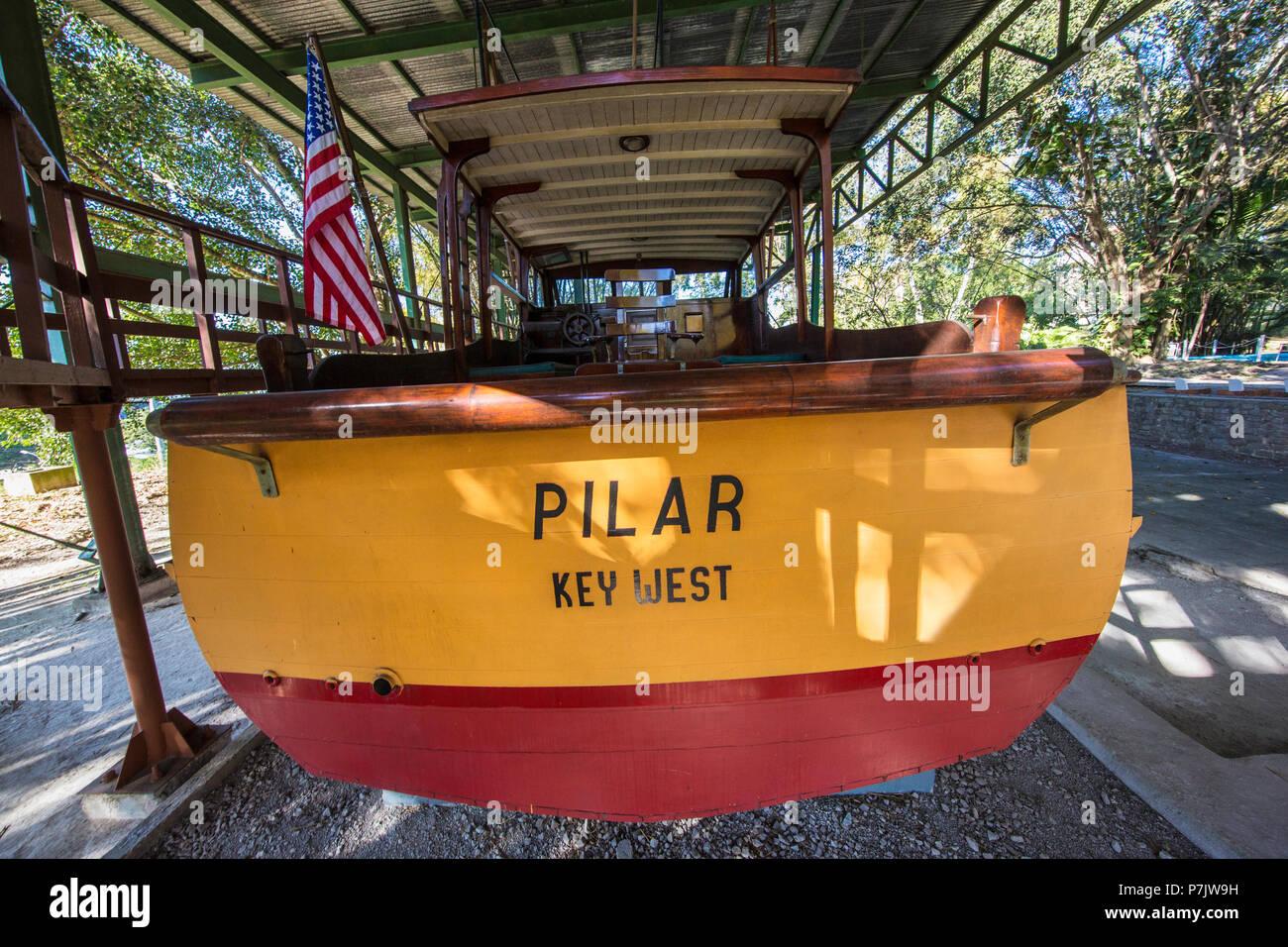 Ernest Hemingway's boat named Pilar at Finca Vigía, in San Francisco de Paula Ward in Havana, Cuba Stock Photo