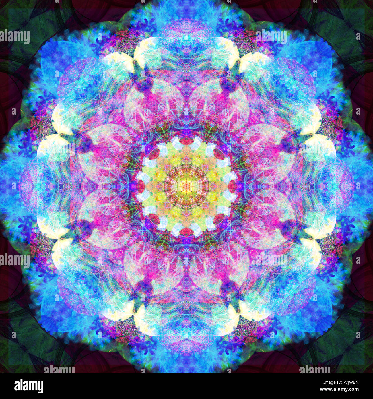 Photographic flower mandala, gleb, pink, blue, turquoise, - Stock Image