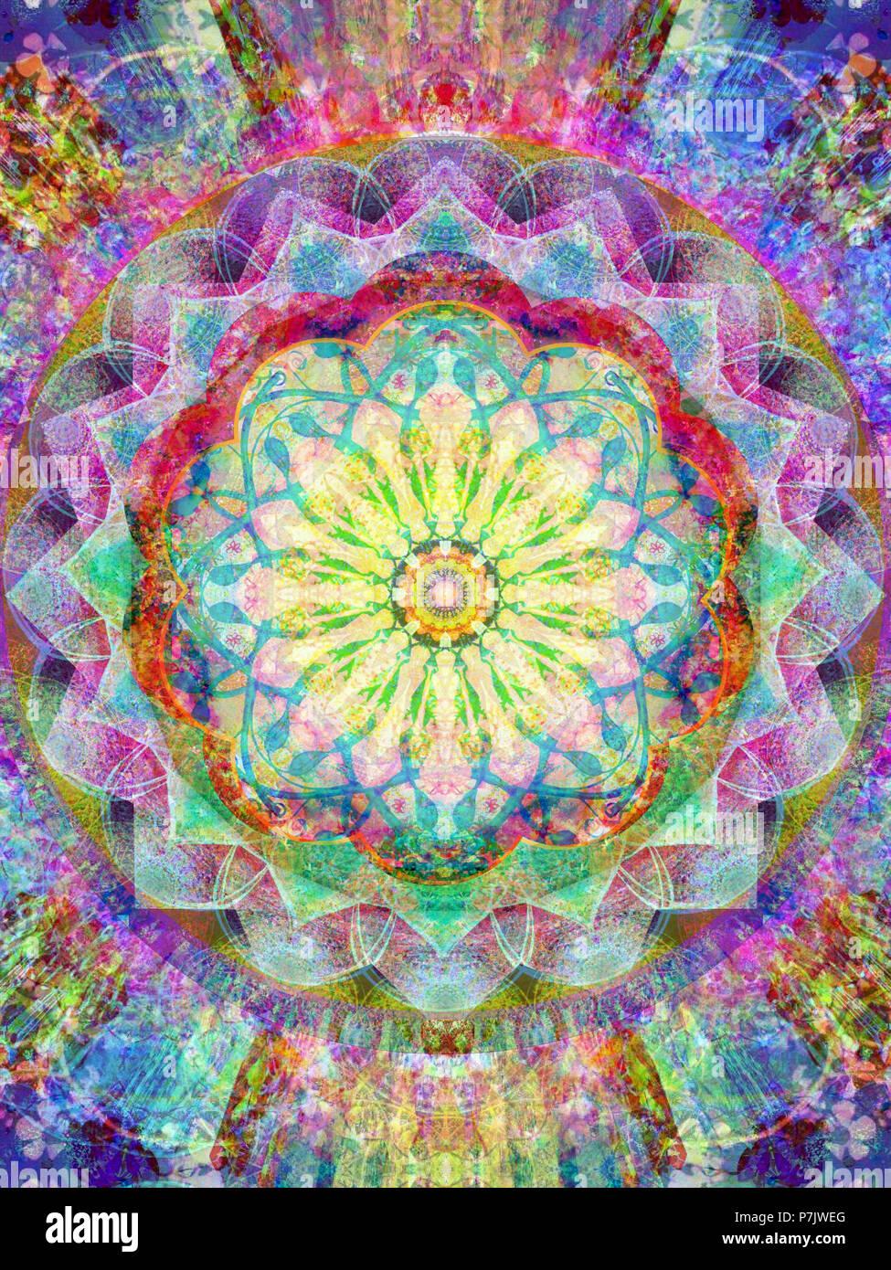 Photographic flower mandala, rainbow colors, - Stock Image