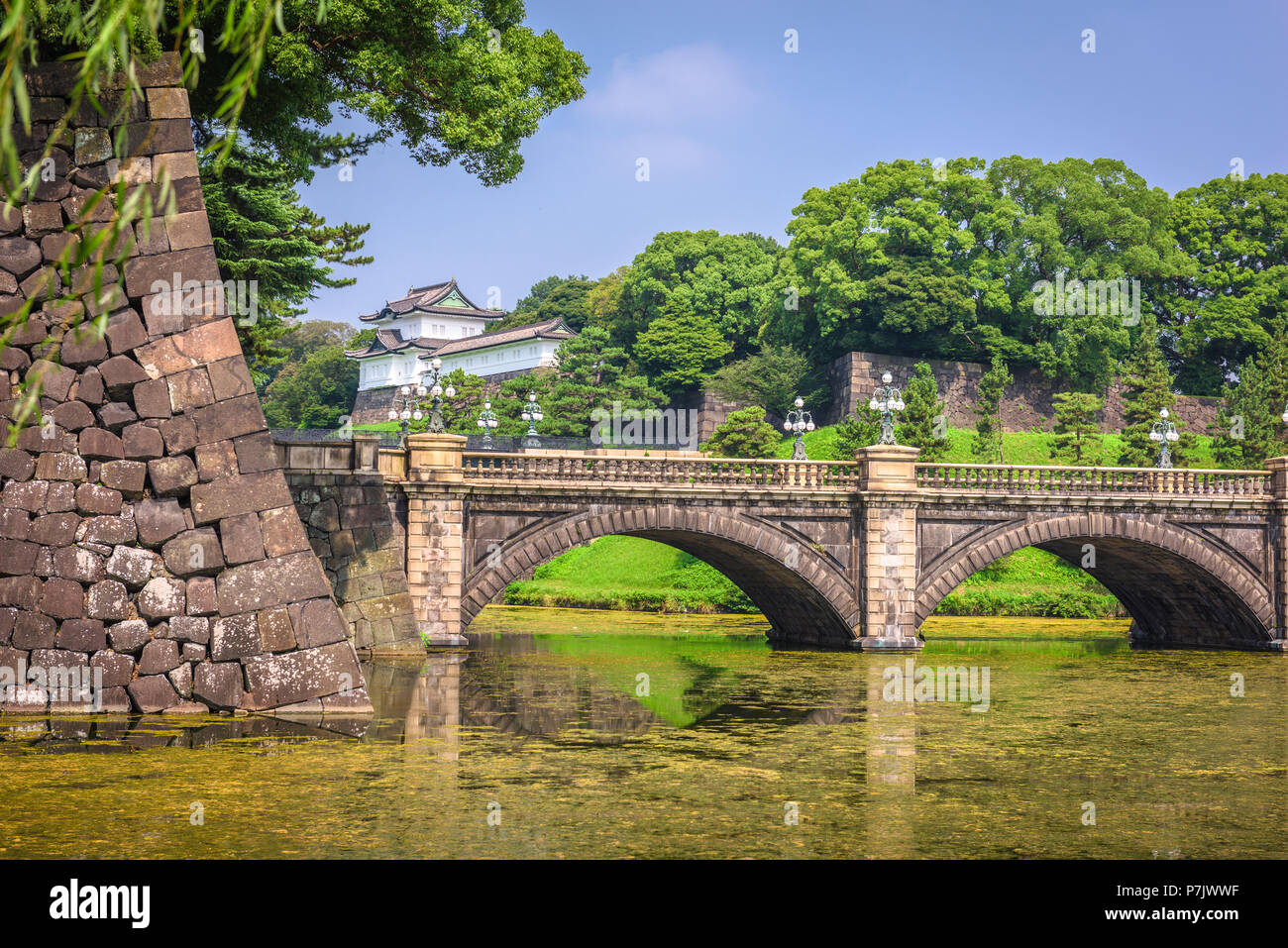 Tokyo, Japan at the Imperial Palace moat and bridge. - Stock Image