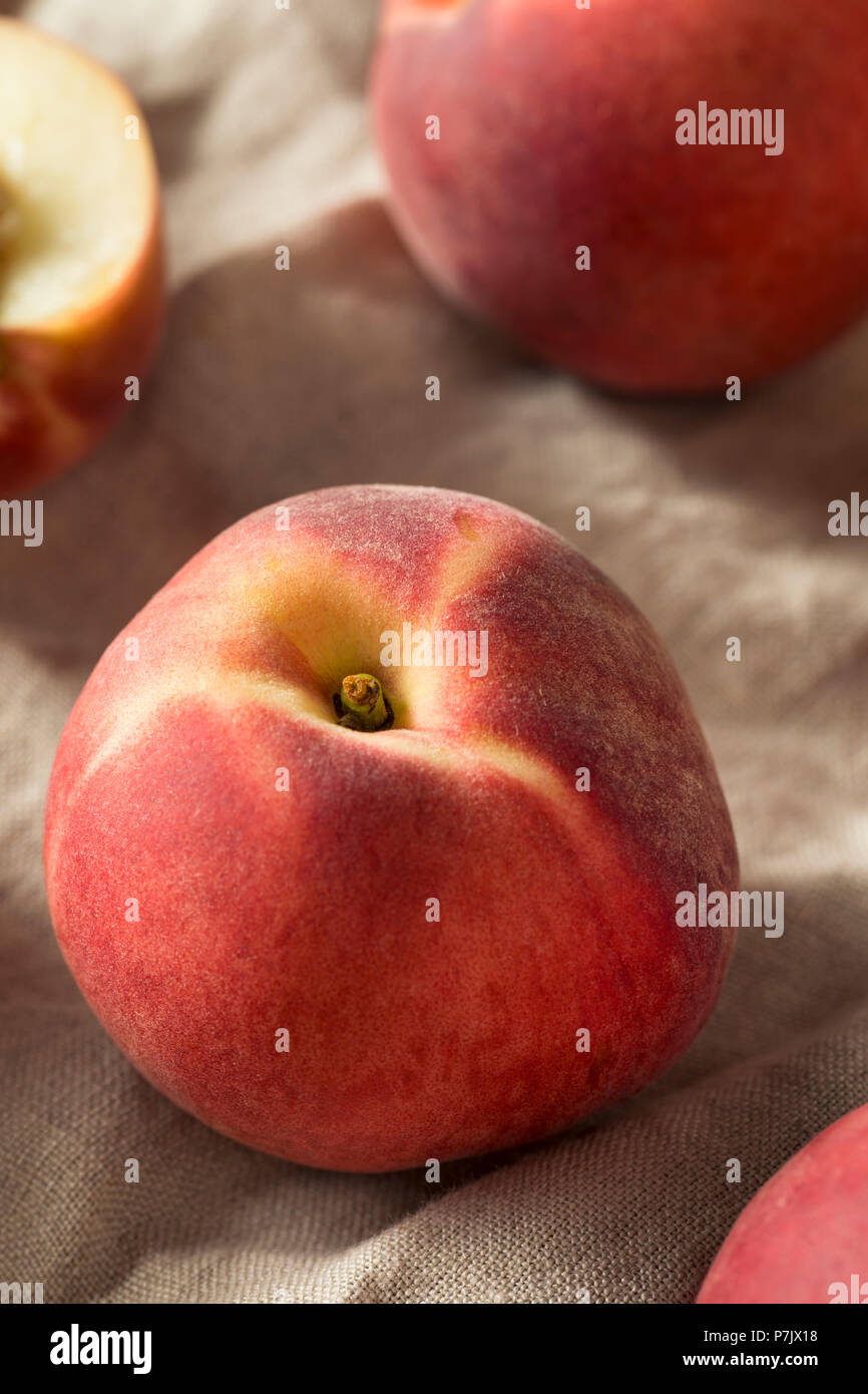 Raw Ripe Organic White Peaches Ready to Eat - Stock Image