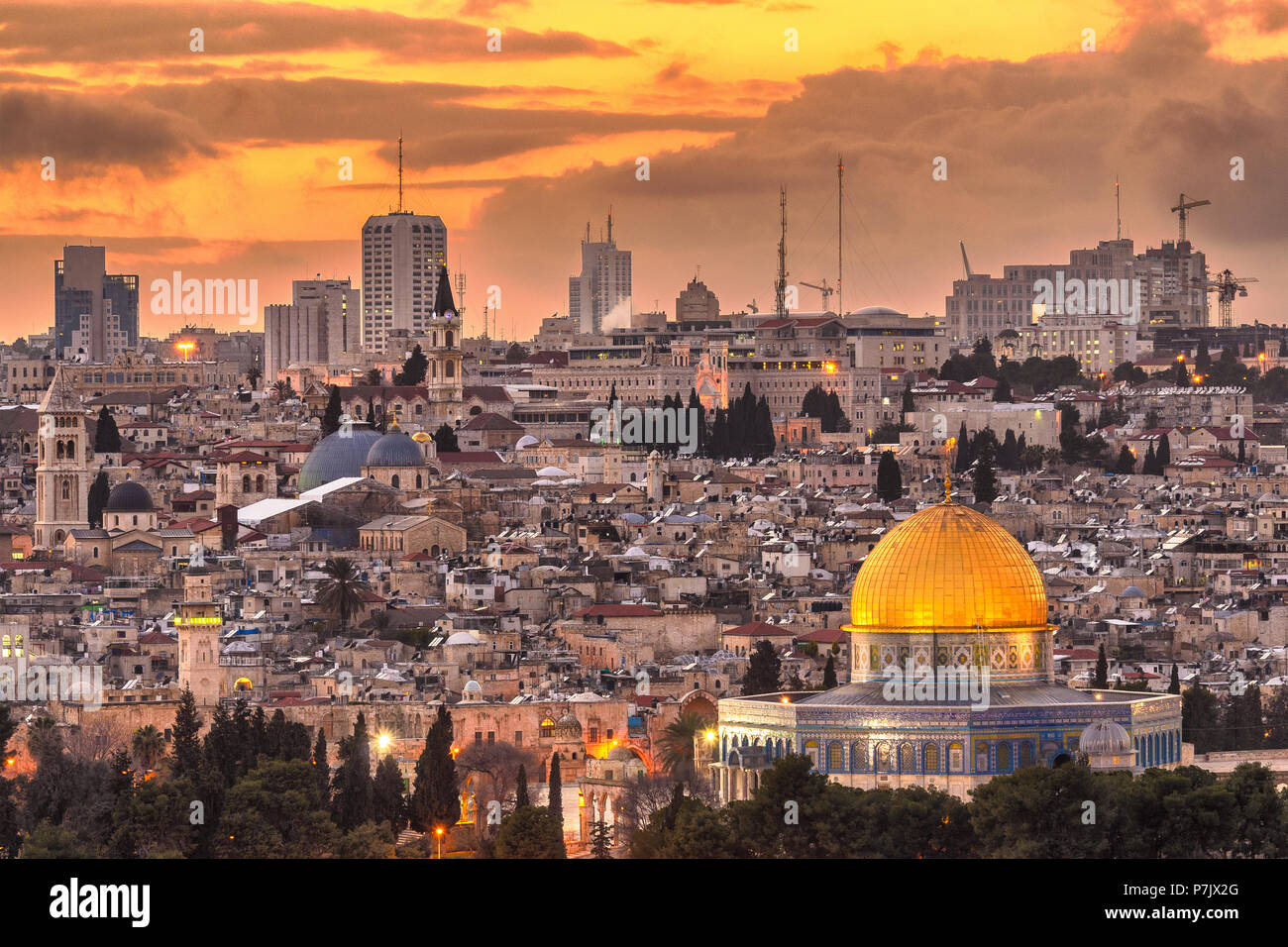 Jerusalem, Israel old city skyline at dusk from Mount of Olives. - Stock Image