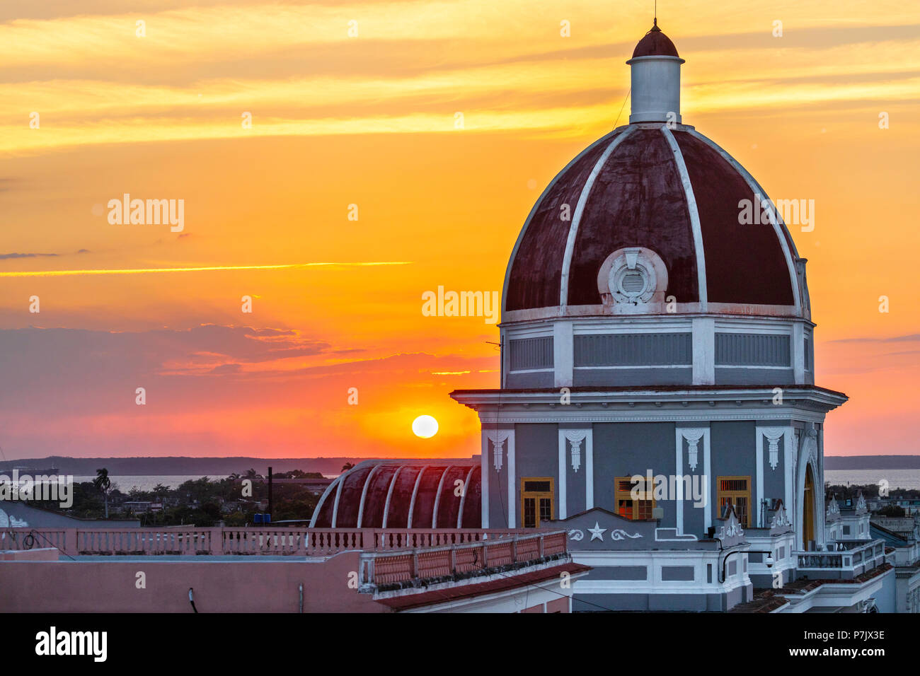 Antiguo Ayuntamiento, home of the provincial government building in Cienfuegos at sunset, Cuba. Stock Photo