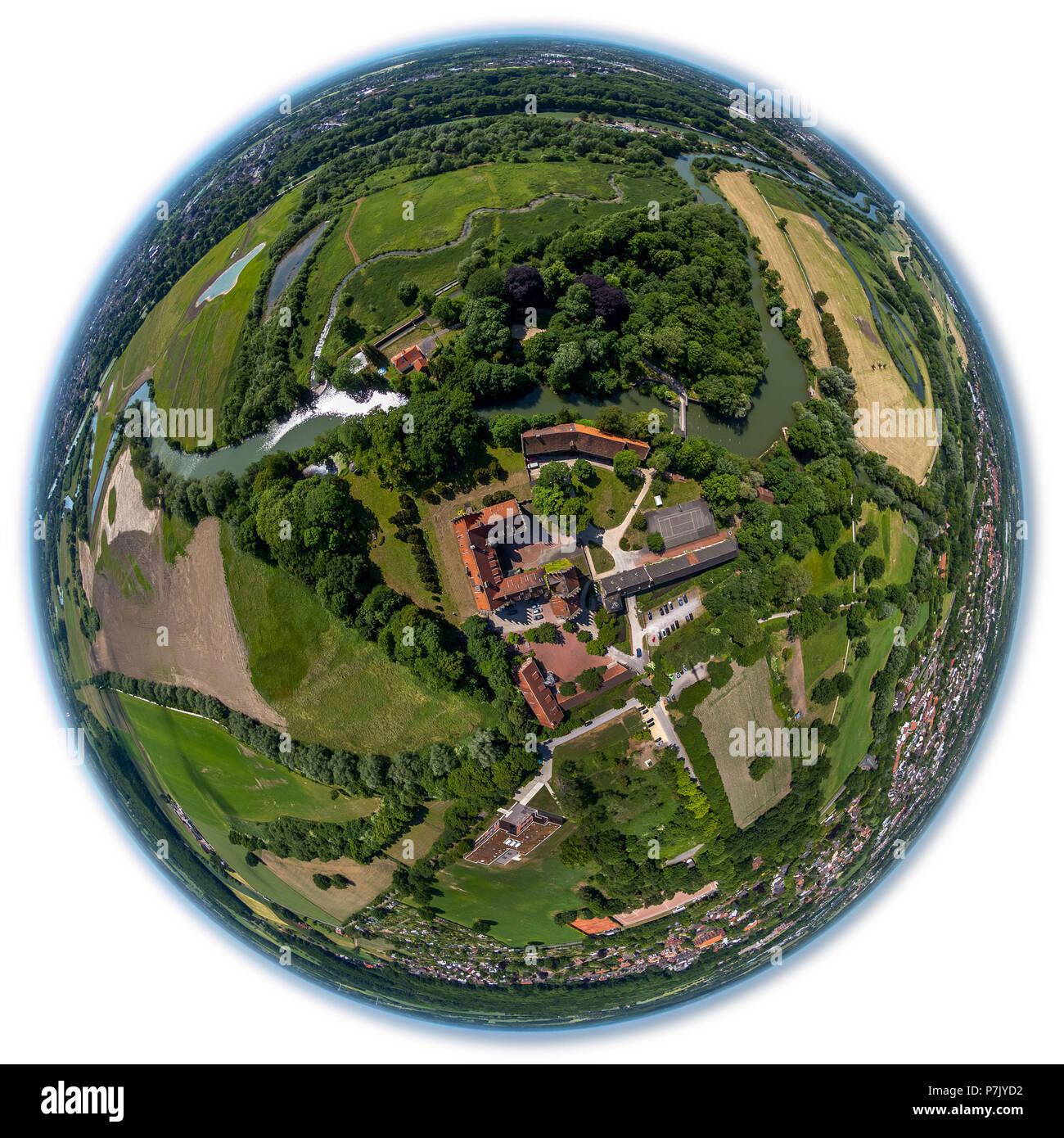 Castle Heessen, country hostel, boarding school, Lippeauen, nature reserve, fish eye image, vertical shot, Hamm, Ruhrgebiet, North Rhine-Westphalia, Germany - Stock Image
