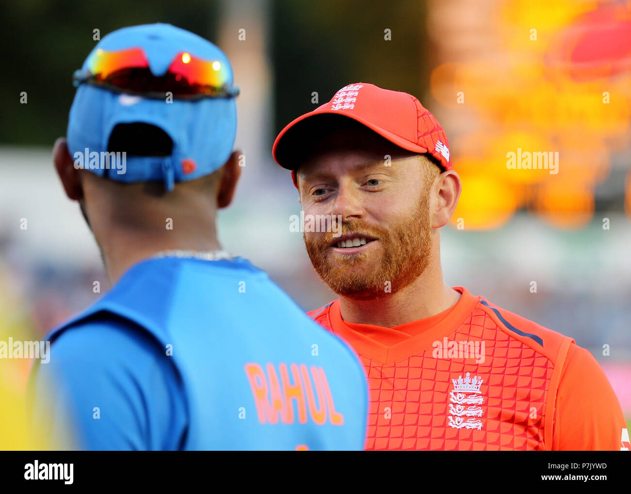 England's Jonny Bairstow talks with India's KL Rahul as they leave the field during the Vitality IT20 Series Match at The SSE SWALEC, Cardiff. - Stock Image