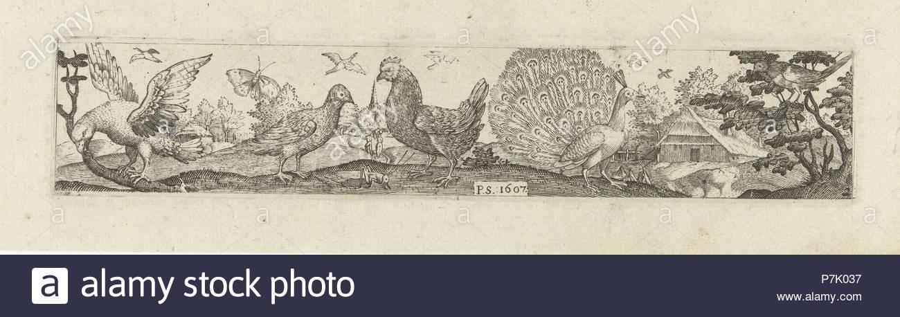 Frieze with nine birds, Pieter Serwouters, Hans Collaert (I), Marcus Geeraerts, 1607. - Stock Image