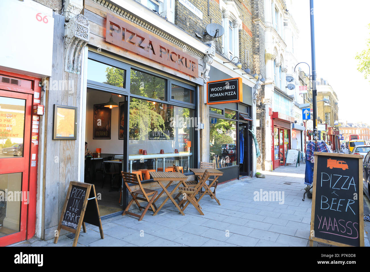 Restaurants around the tip of the trendy Peckham Rye triangle, in south London UK - Stock Image