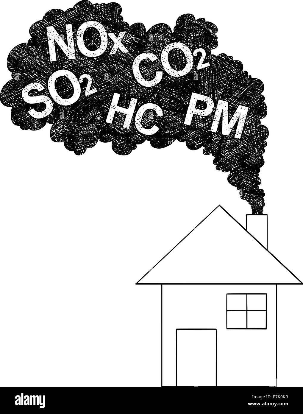 Vector artistic drawing illustration of smoke coming from house chimney air pollution concept