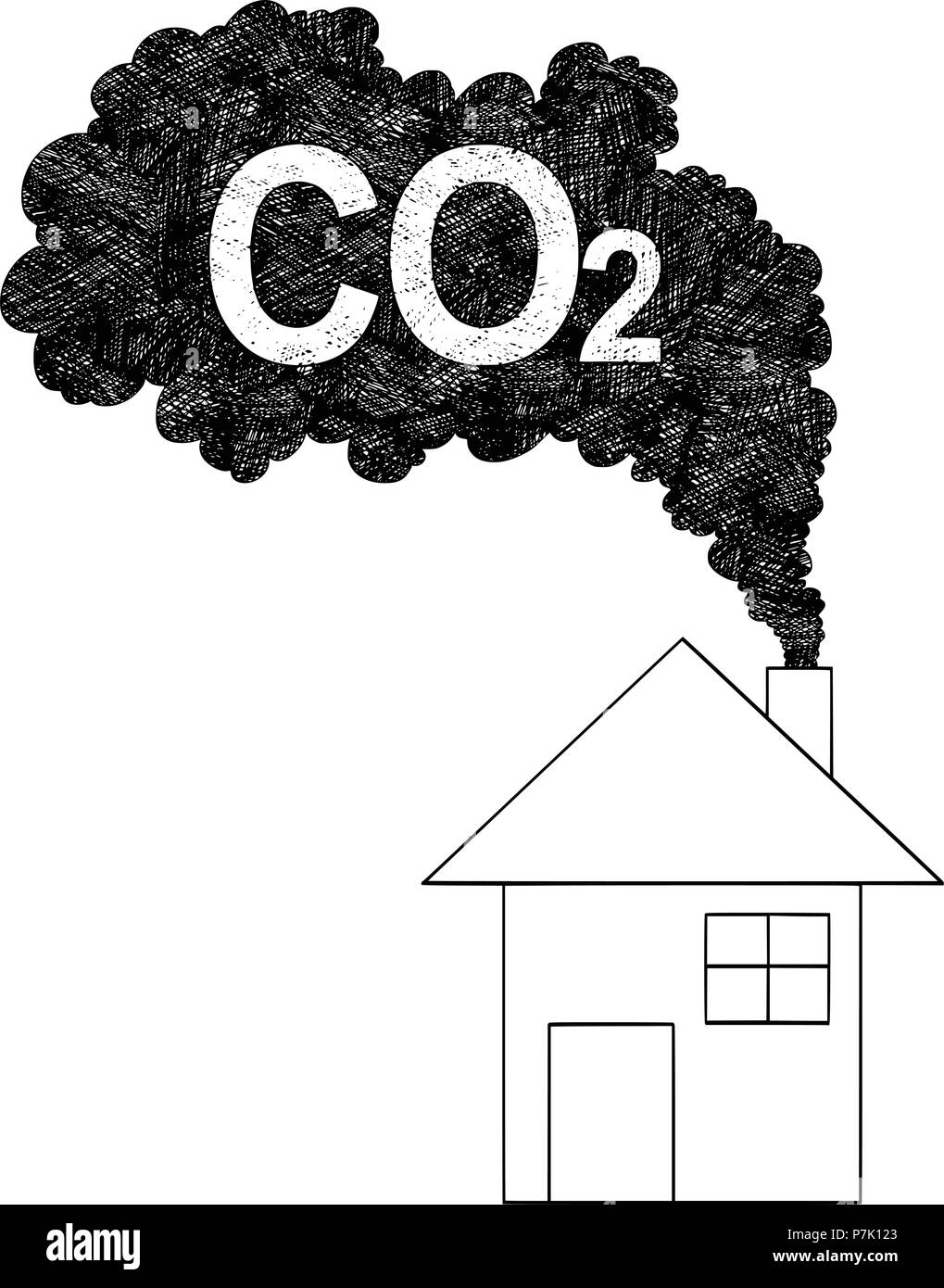 Vector Artistic Drawing Illustration of Smoke Coming from House Chimney, Carbon Dioxide or CO2 Air Pollution Concept - Stock Image