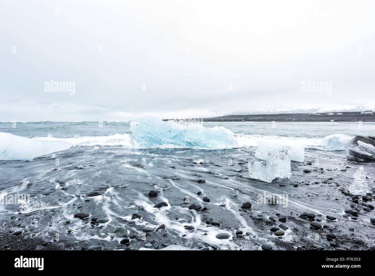 Closeup Of Cold Winter One Blue Glacier Iceberg In Jokulsaron Lagoon