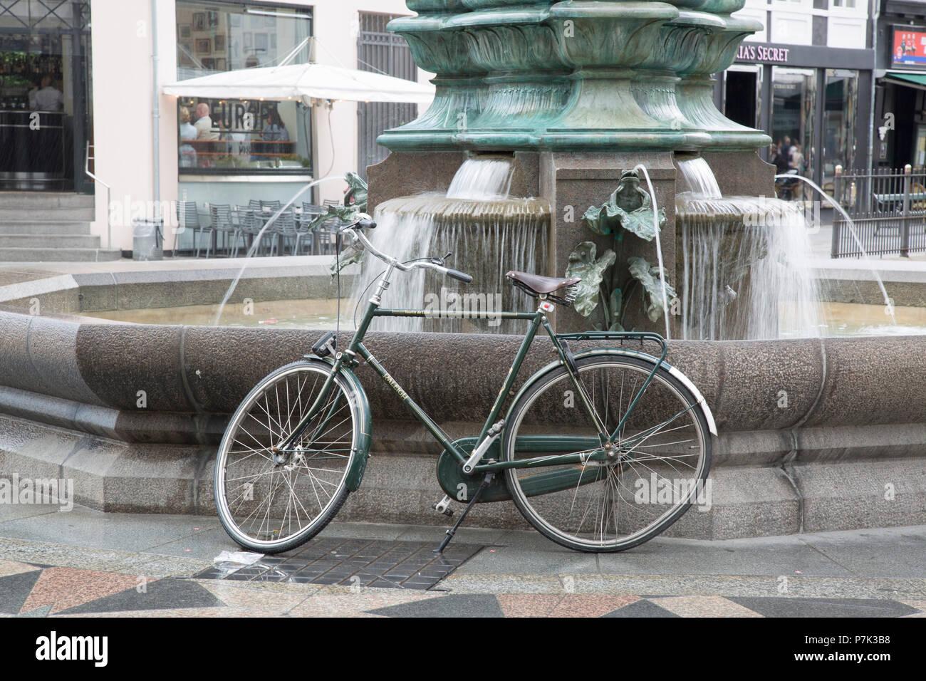 Stork Fountain and Bike; Copenhagen; Denmark - Stock Image