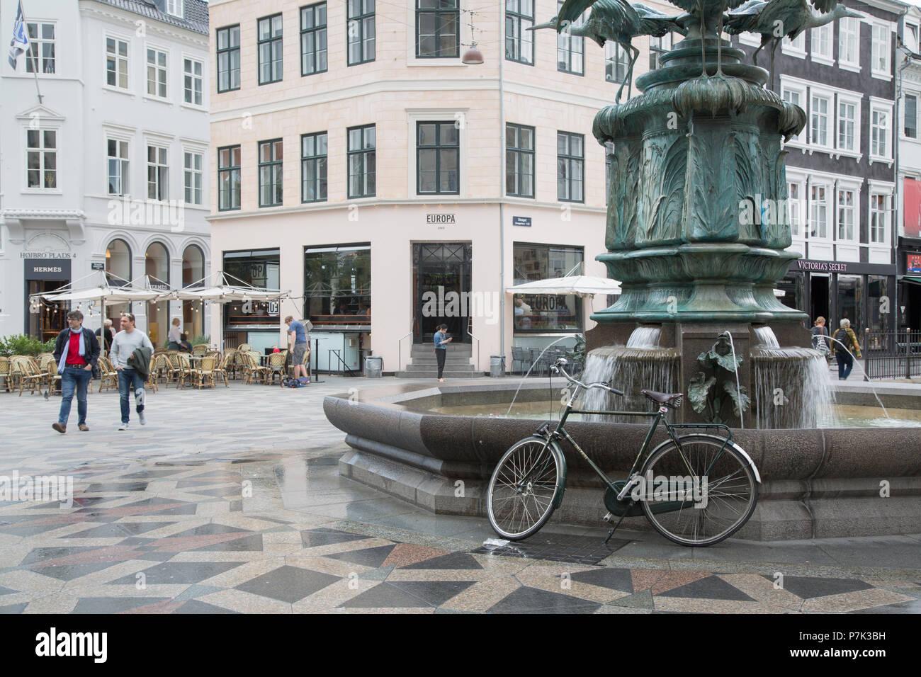 Stork Fountain in Amagertorv Square, Copenhagen; Denmark - Stock Image