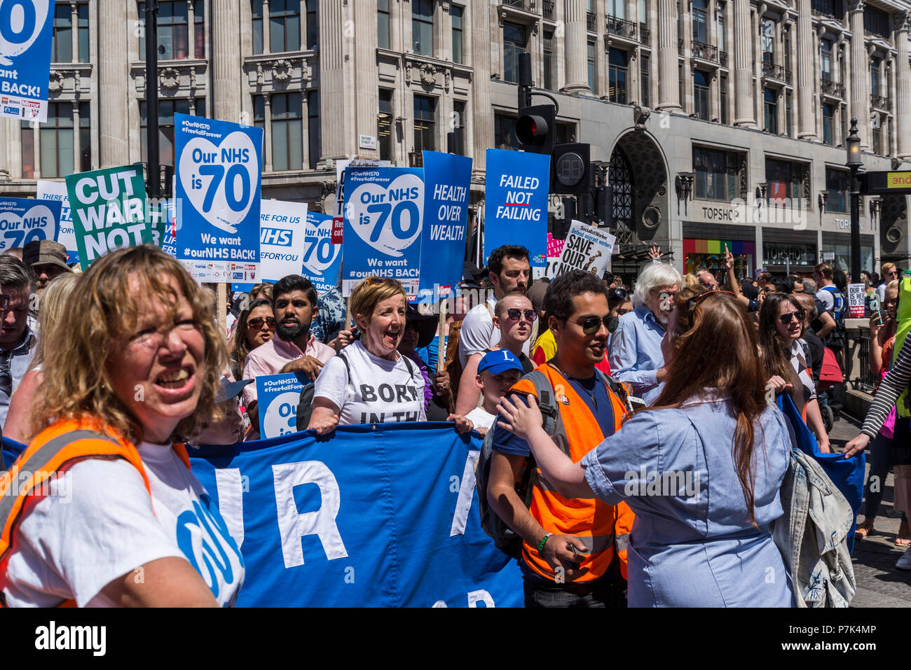 NHS 70th Anniversary March organised by People's Assembly, London, UK, 30/06/2018 - Stock Image