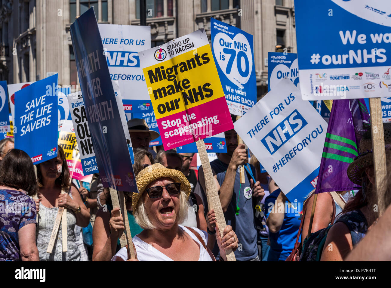 NHS 70th Anniversary March organised by People's Assembly, Migrants make our NHS, London, UK, 30/06/2018 - Stock Image
