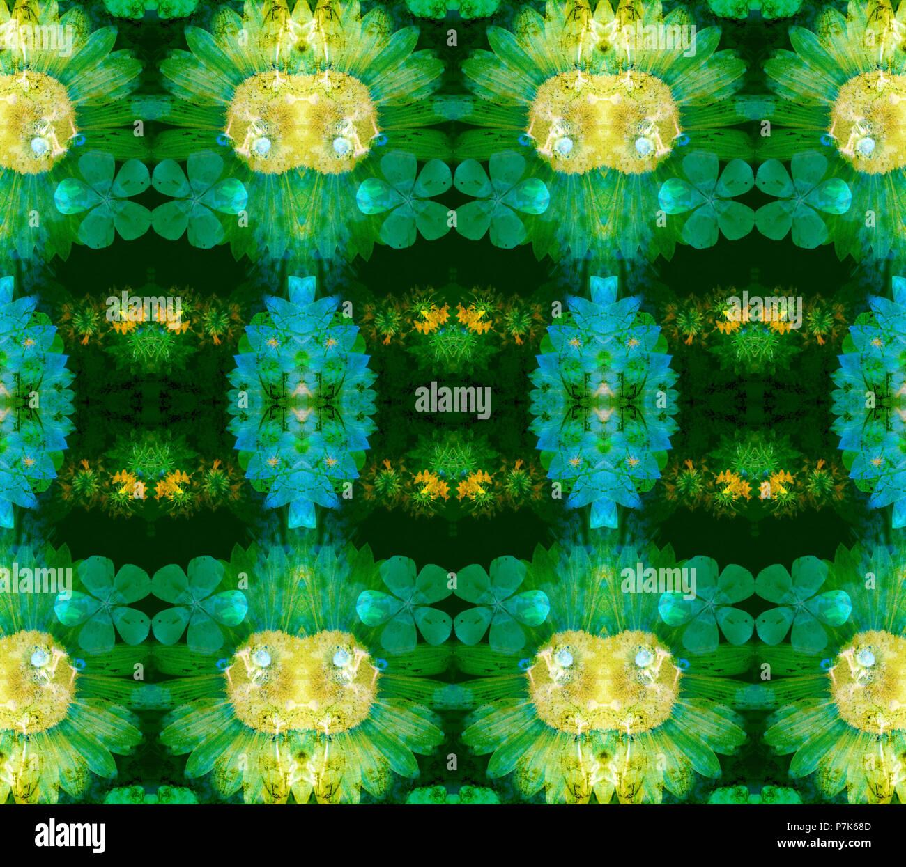 Photographic flower pattern, symmetrical Stock Photo