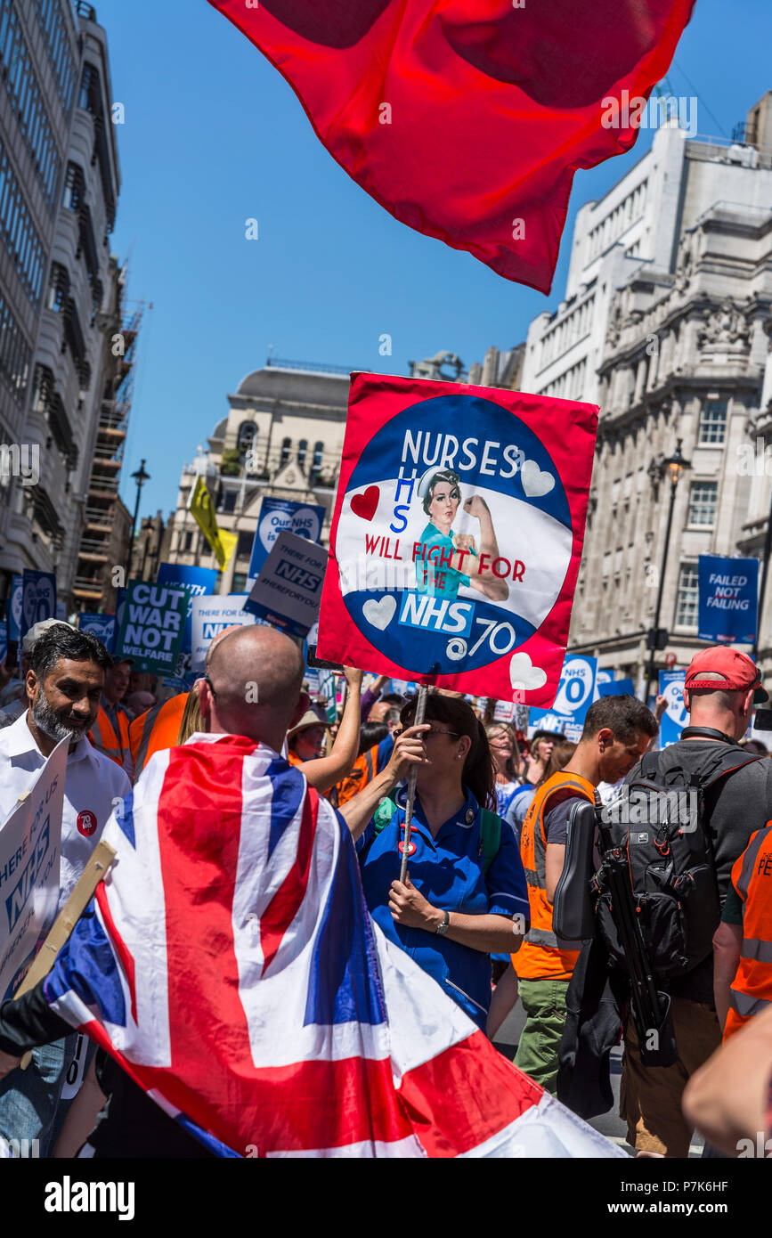 NHS 70th Anniversary March organised by People's Assembly, Nurses fight for NHS placard, London, UK, 30/06/2018 - Stock Image