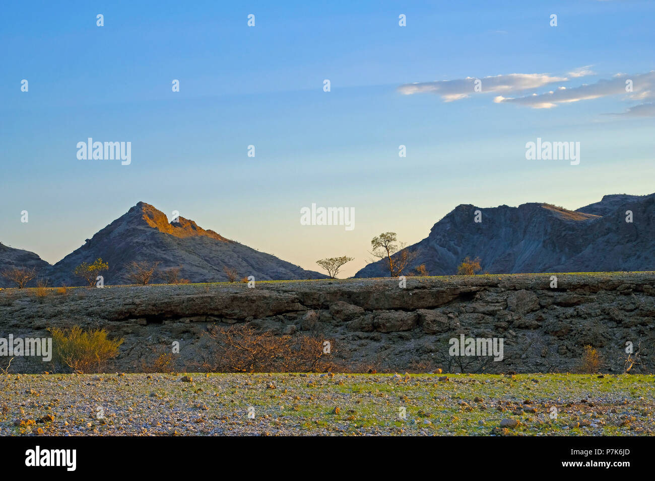 dry riverbed in plain with marble pebbles and mountains in the background just after sunset in Namibia, Kaokoland - Stock Image