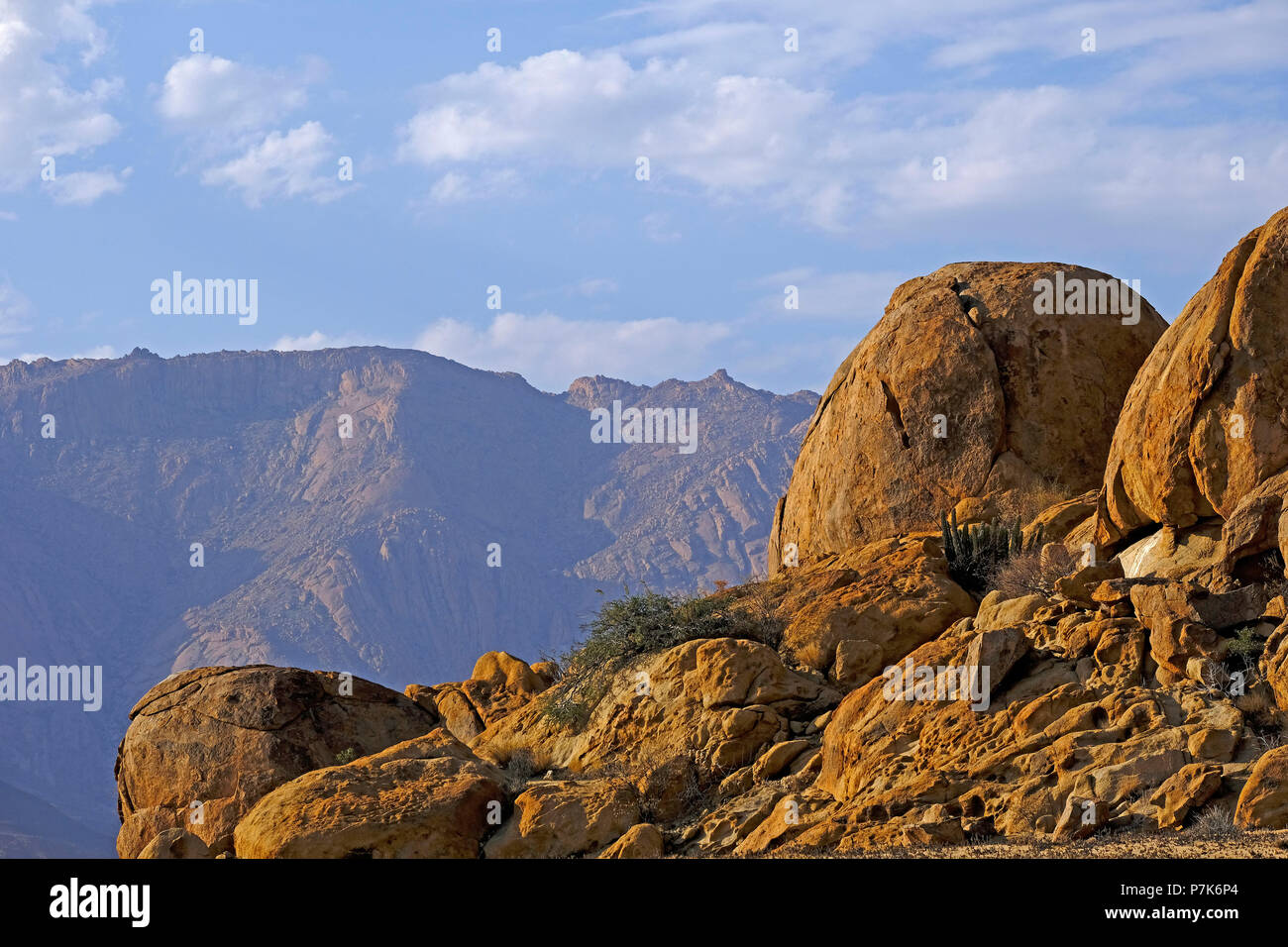 wild eroded granite rocks with slip rock and sparse vegetation in the Brandberg area, Brandberg in the background, in Namibia, Damaraland - Stock Image