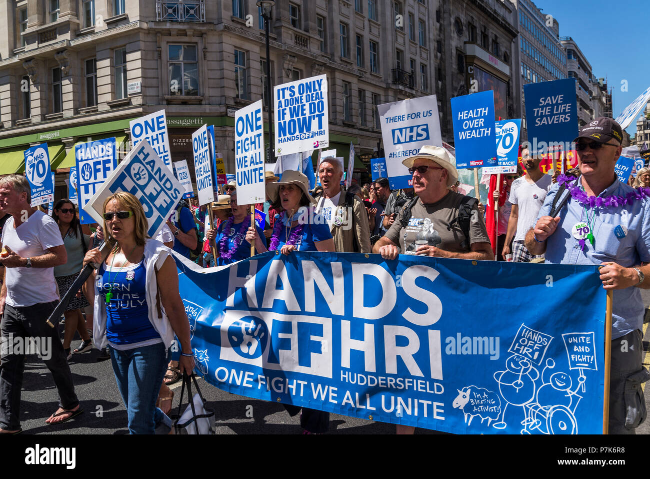 NHS 70th Anniversary March organised by People's Assembly, Hands off HRI banner, London, UK, 30/06/2018 - Stock Image