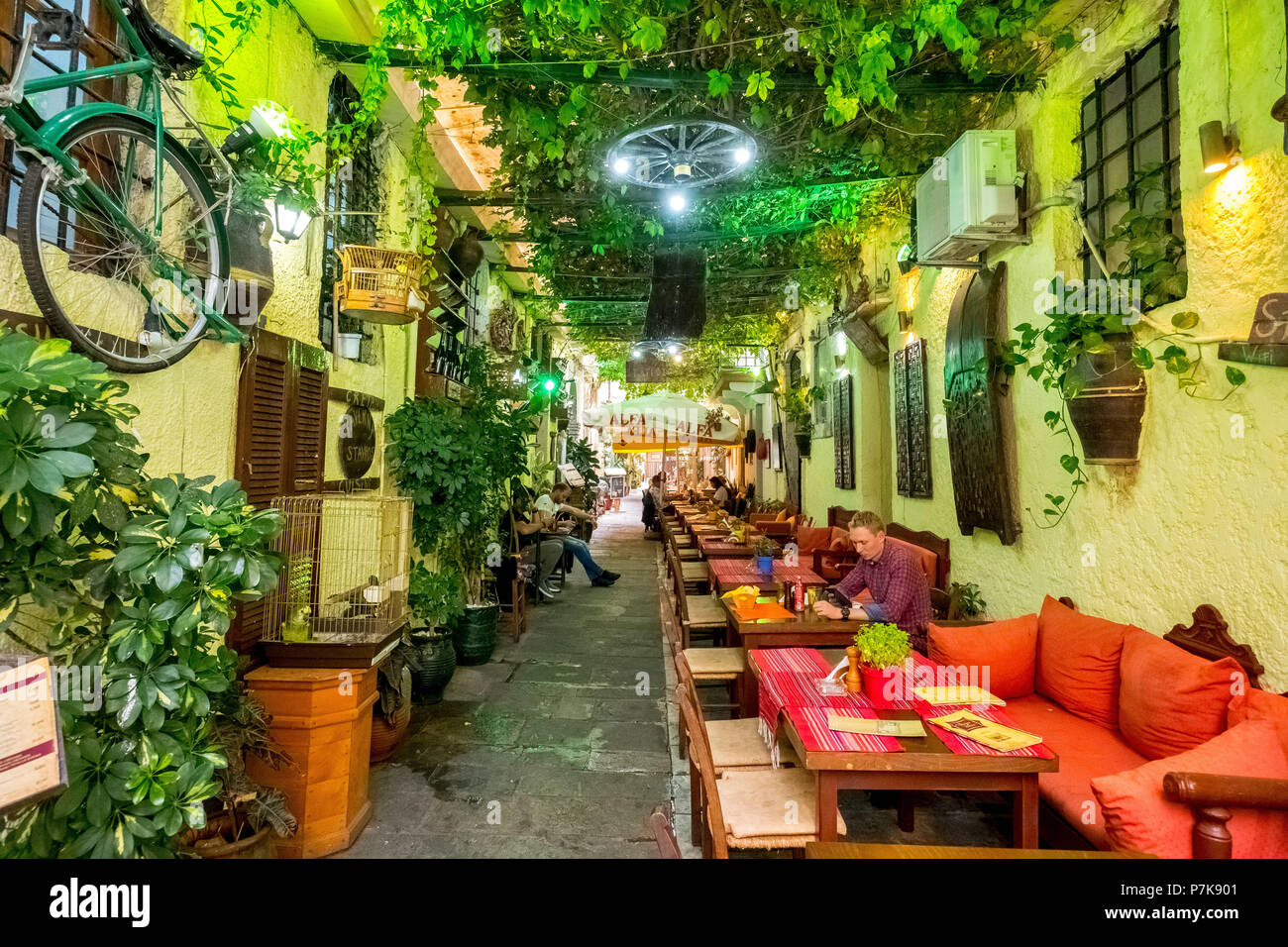 Restaurant, tavern in an alley in the old town of Rethymno, vine leaves and red sofas, Europe, Crete, Greece - Stock Image