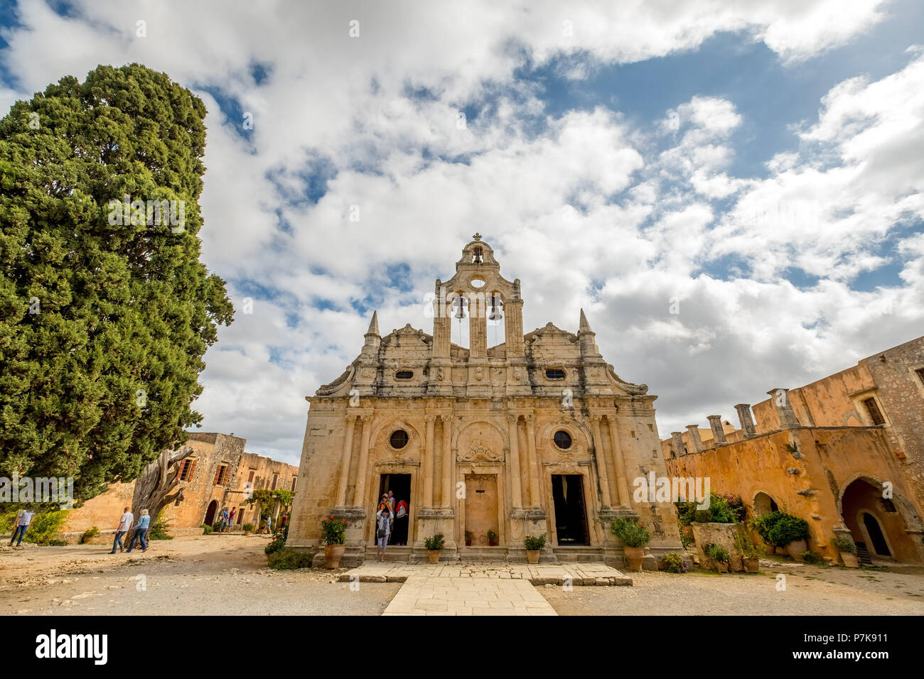 Monastic Church Greek Orthodox two-nave church, National Monument of Crete in the struggle for independence, Moni Arkadi Monastery, Crete, Greece, Europe - Stock Image