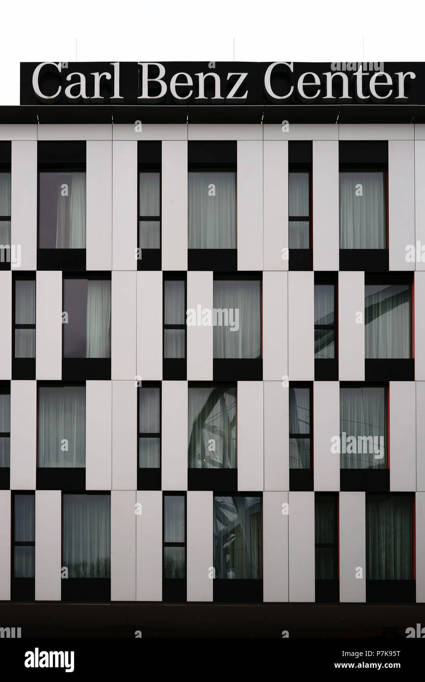 The modern facade of the 'Carl-Benz-Center', a venue of the VFB Stuttgart in Stuttgart, - Stock Image