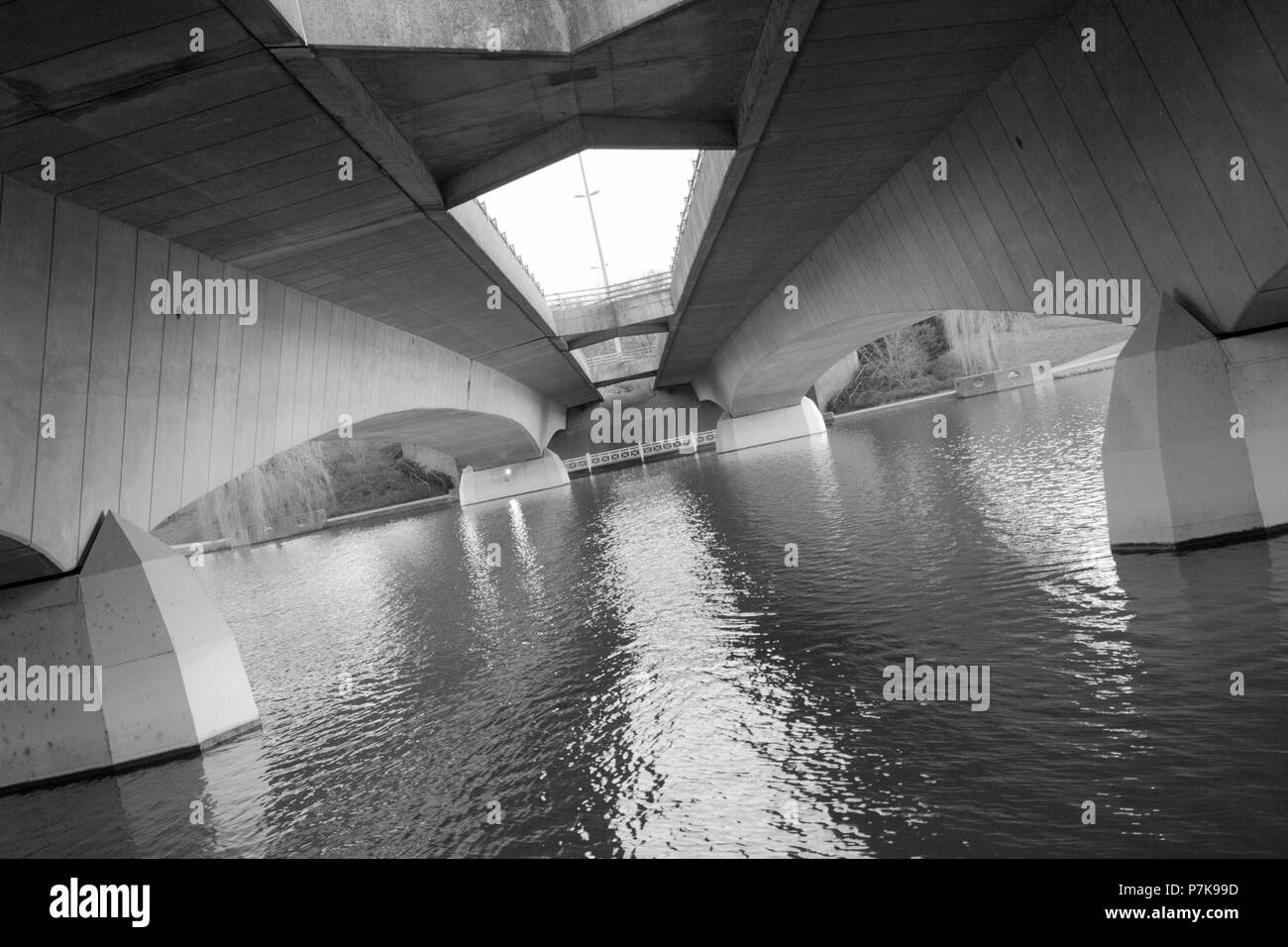 The Tormin bridge from below in black and white. - Stock Image