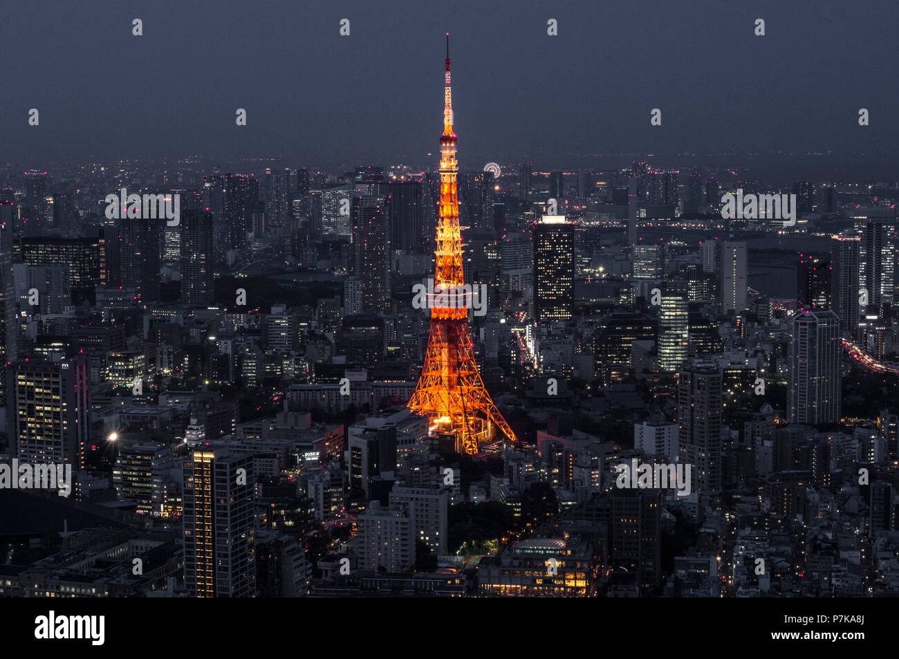The Tokyo Tower at night - Stock Image