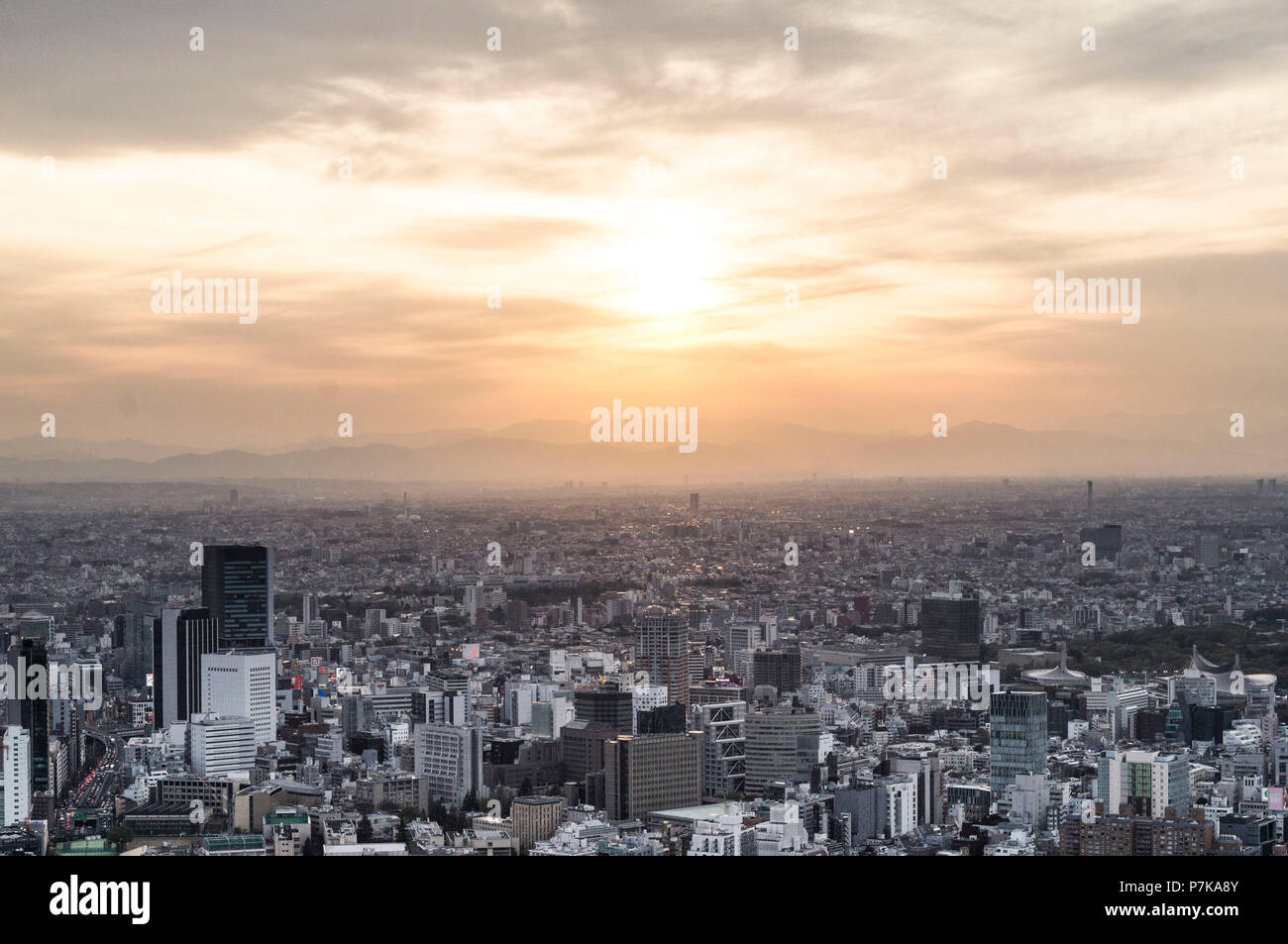 A look over Tokyo in the sunset - Stock Image