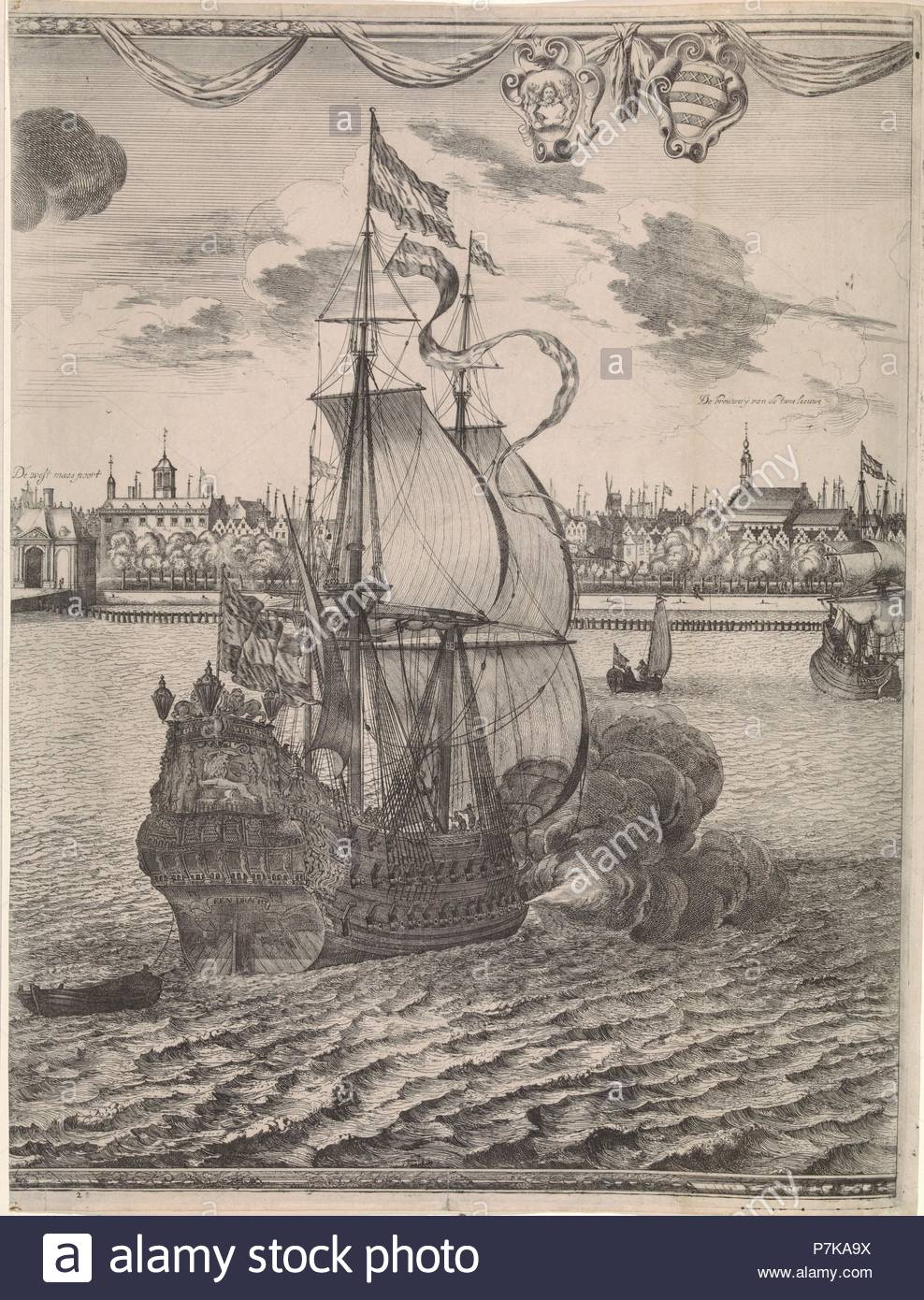 Panorama of Rotterdam, The Netherlands, print maker: attributed to Joost van Geel, Jan Houwens I, 1665. - Stock Image