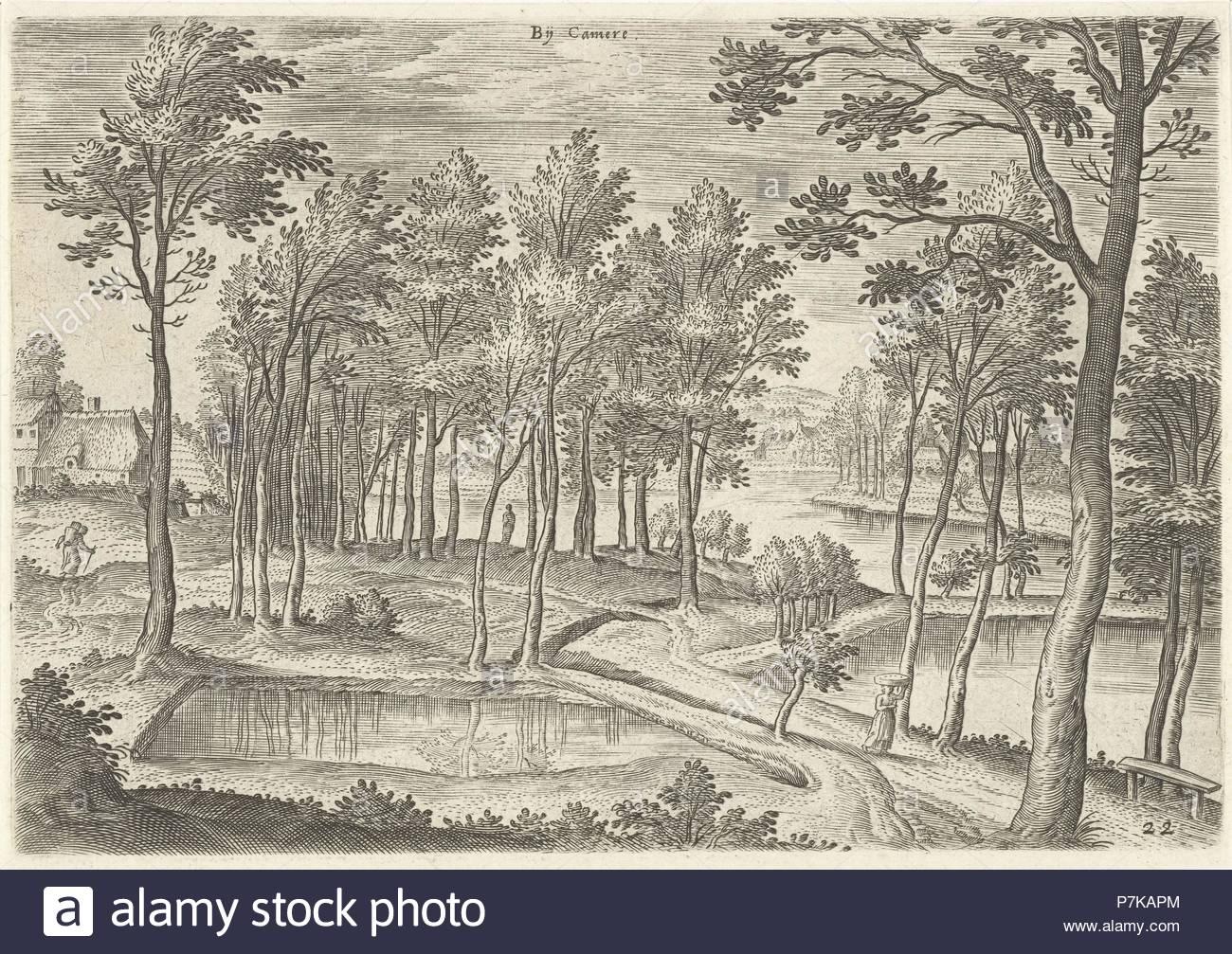 View of the ponds of Ter Kameren, La Cambre Brussels Belgium, Hans Collaert I, Hans Bol, Claes Jansz. Visscher II, 1530-1580. - Stock Image