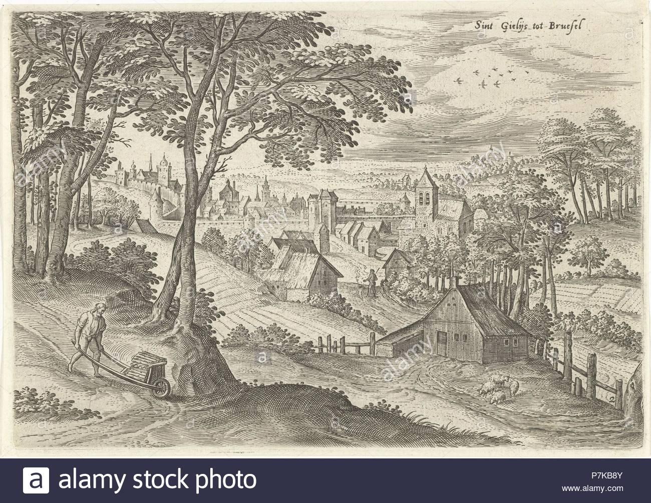 View of Saint-Gilles, Belgium, Hans Collaert (I), Hans Bol, Claes Jansz. Visscher (II), 1530 - 1580. - Stock Image