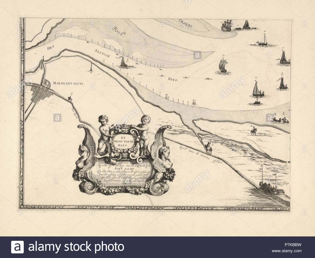 Map of Maassluis and the banks of the Meuse, The Netherlands, print maker: Joost van Geel attributed to, Jacob Quack, 1665. - Stock Image