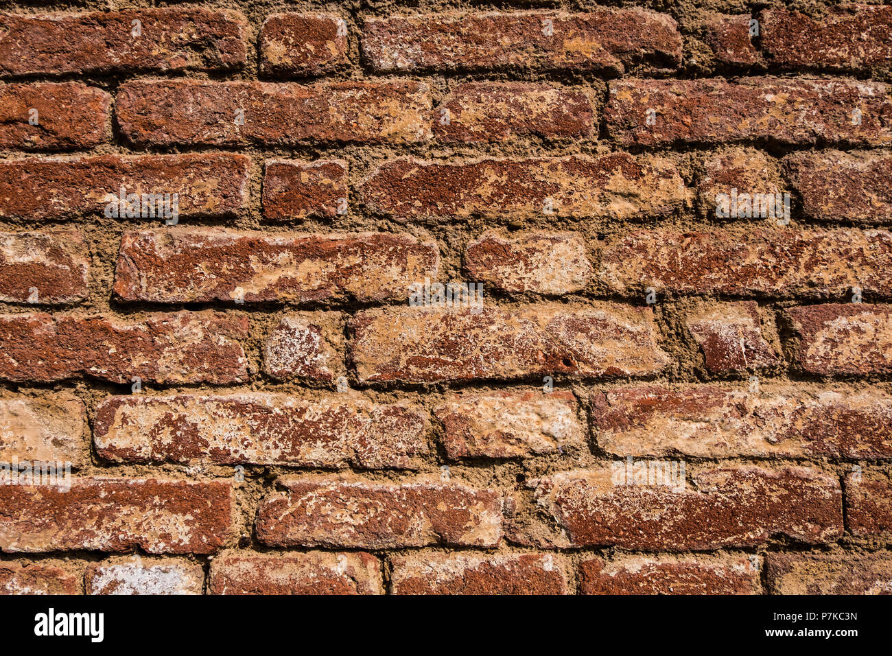 Beautiful Wallpaper Background Of A Worn Old Red Brick Wall No