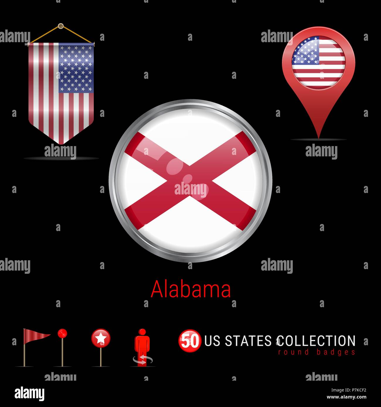 Round Chrome Vector Badge with Alabama US State Flag ...