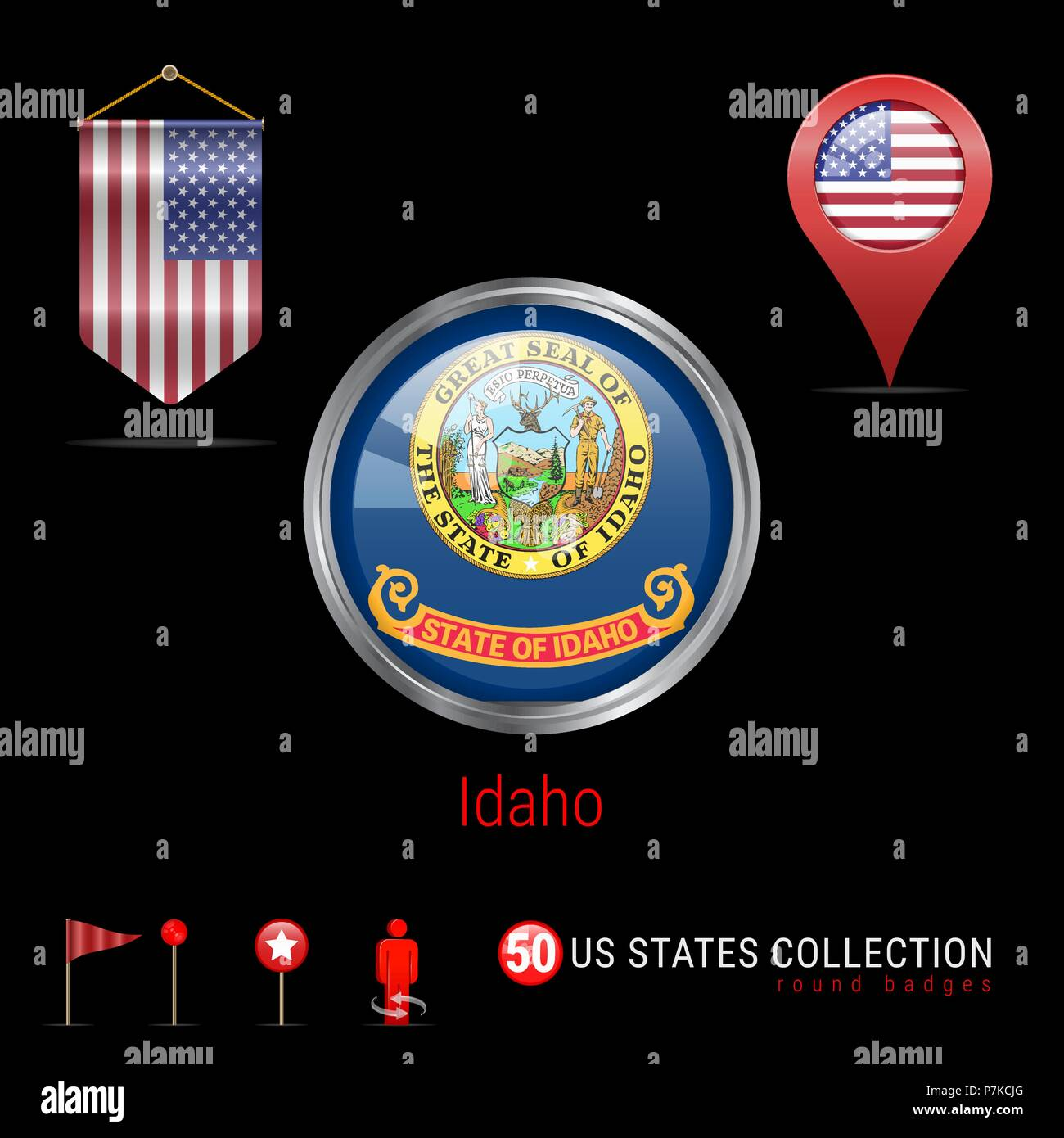 Round Chrome Vector Badge with Idaho US State Flag. Pennant Flag of USA. Map Pointer - USA. Map Navigation Icons - Stock Vector