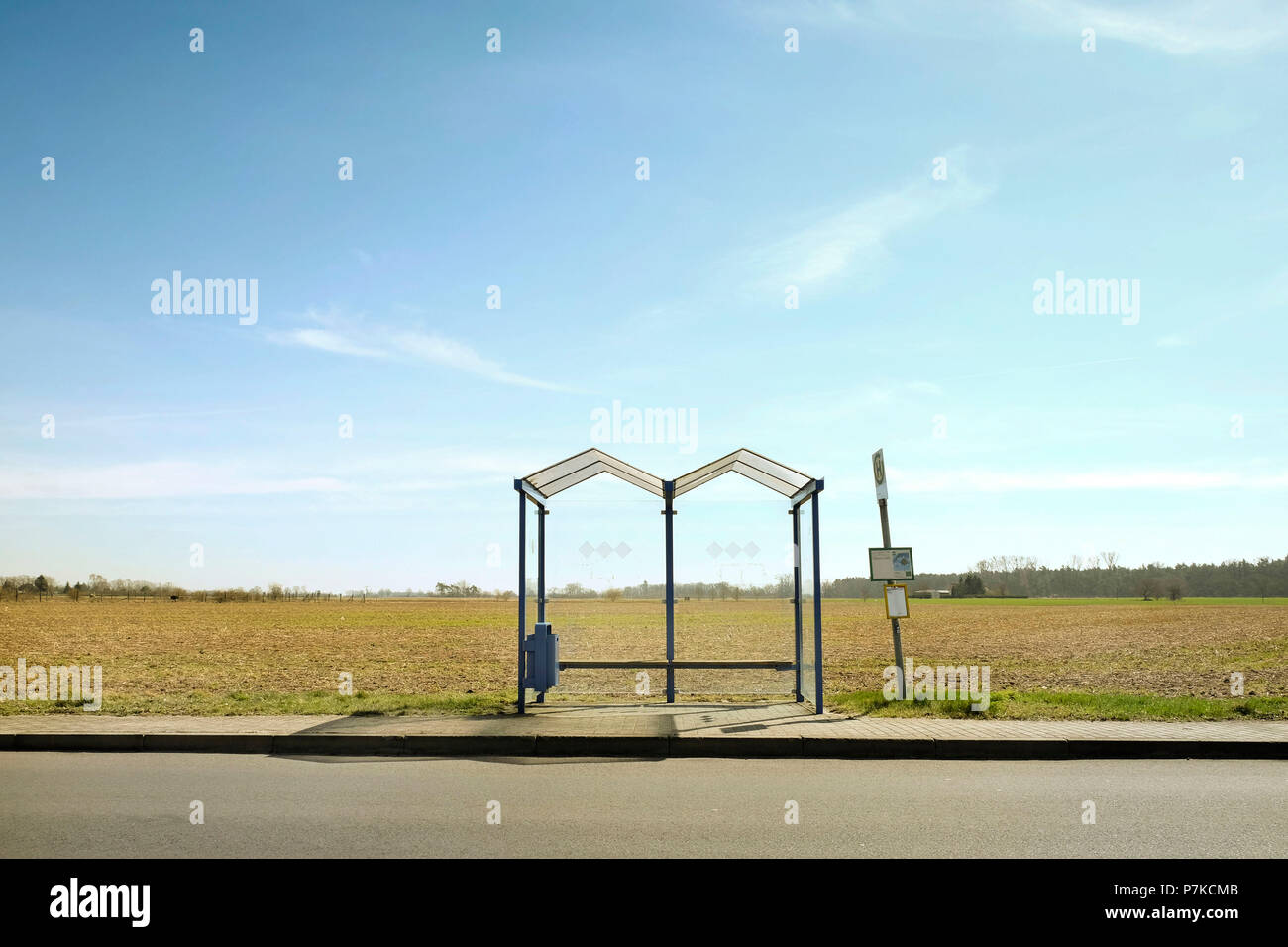 Bus stop, Brandenburg, Germany, wait, sparsely populated - Stock Image