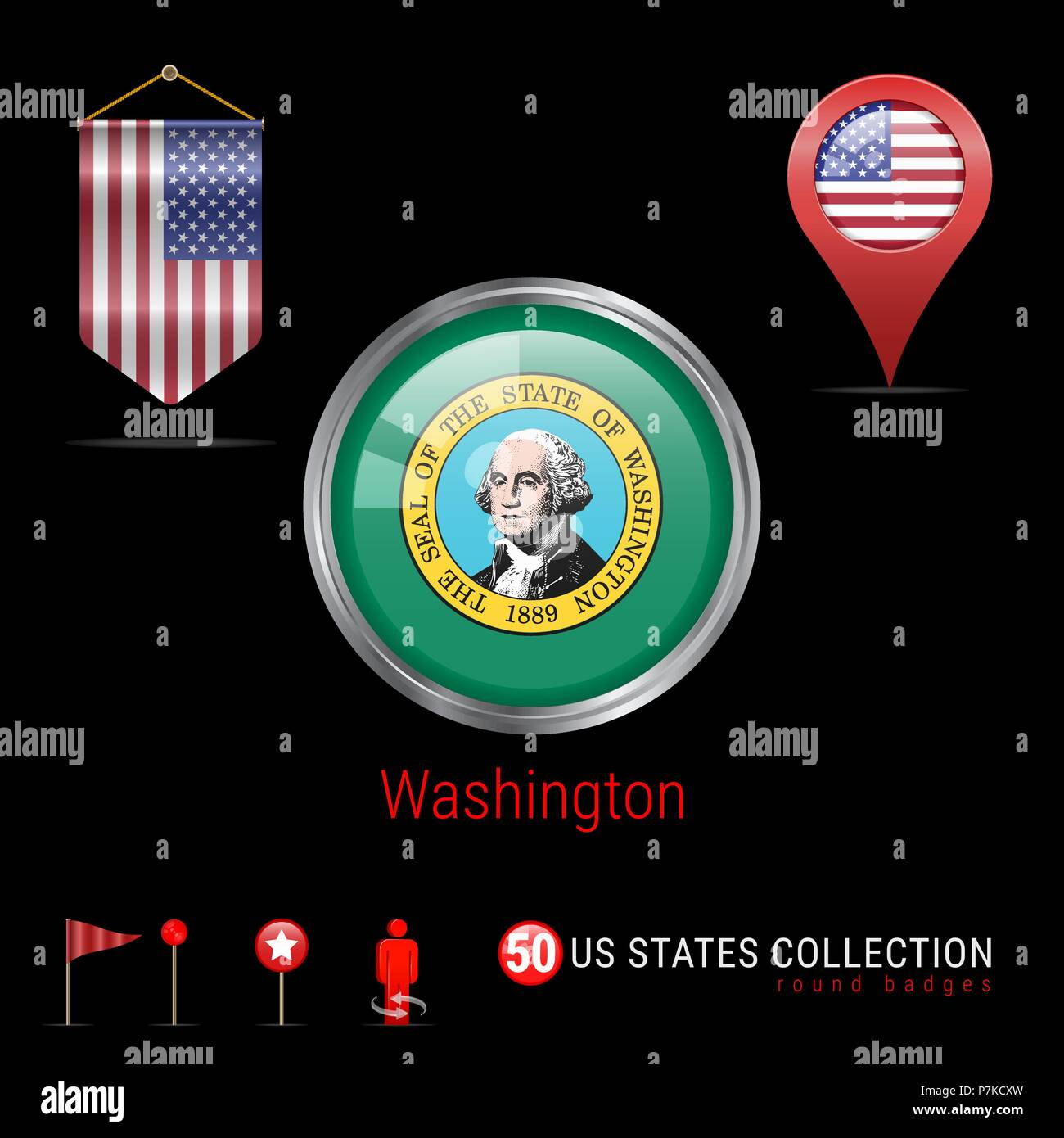 Round Chrome Vector Badge with Washington US State Flag. Pennant Flag of USA. Map Pointer - USA. Map Navigation Icons - Stock Vector