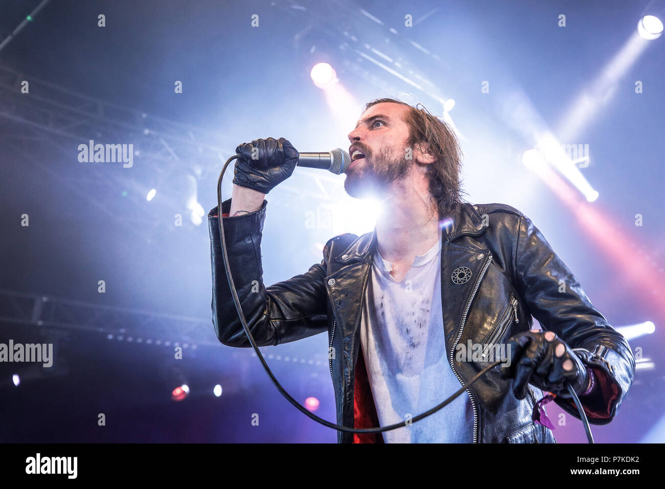 Roskilde, Denmark. 6th July 2018. The American extreme metal band Skeletonwitch performs a live concert at during the Danish music festival Roskilde Festival 2018. Here vocalist Adam Clemans is seen live on stage. (Photo credit: Gonzales Photo - Peter Troest). Credit: Gonzales Photo/Alamy Live News - Stock Image