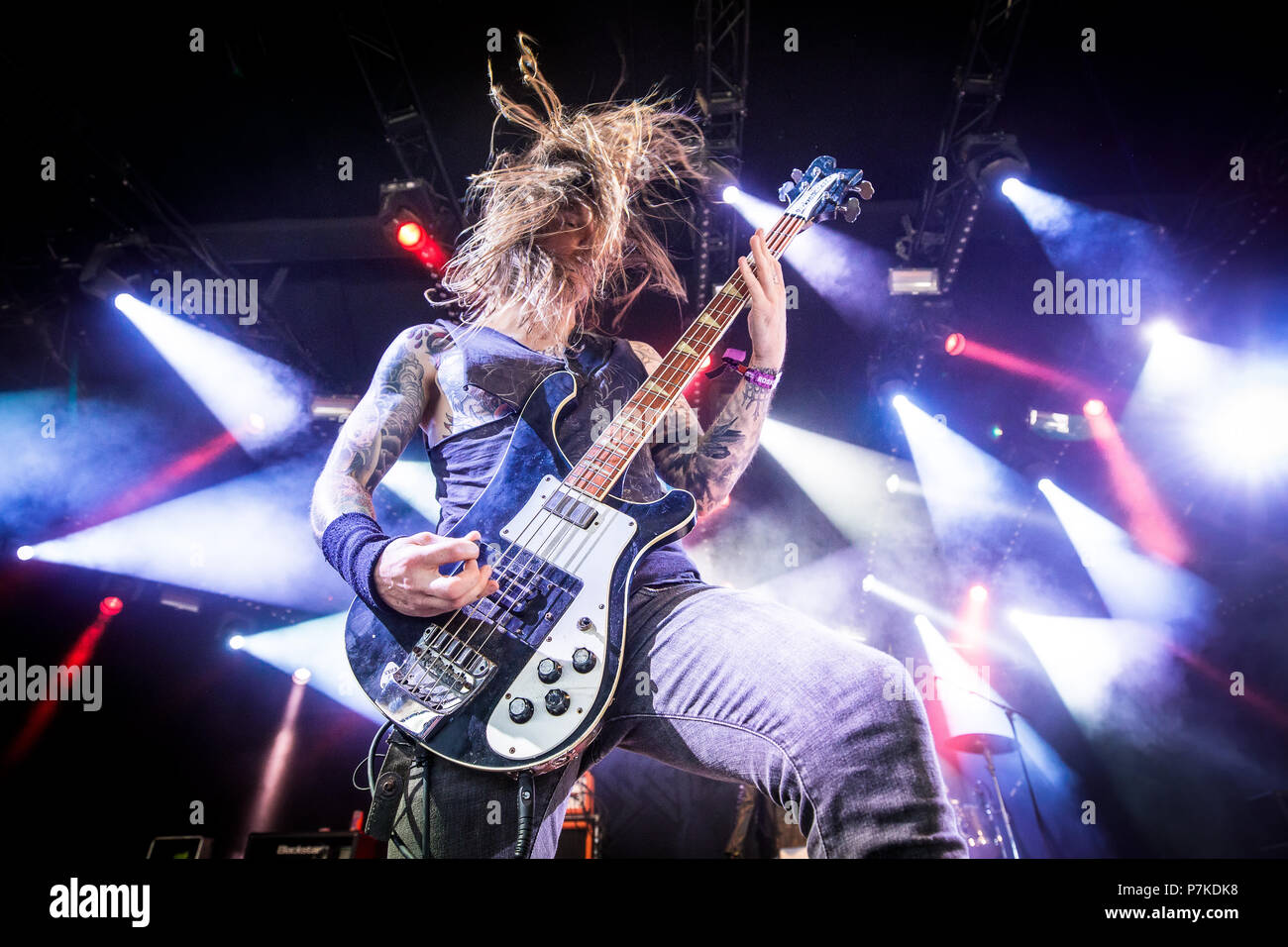 Roskilde, Denmark. 6th July 2018. The American extreme metal band Skeletonwitch performs a live concert at during the Danish music festival Roskilde Festival 2018. Here bass player Evan Linger is seen live on stage. (Photo credit: Gonzales Photo - Peter Troest). Credit: Gonzales Photo/Alamy Live News - Stock Image
