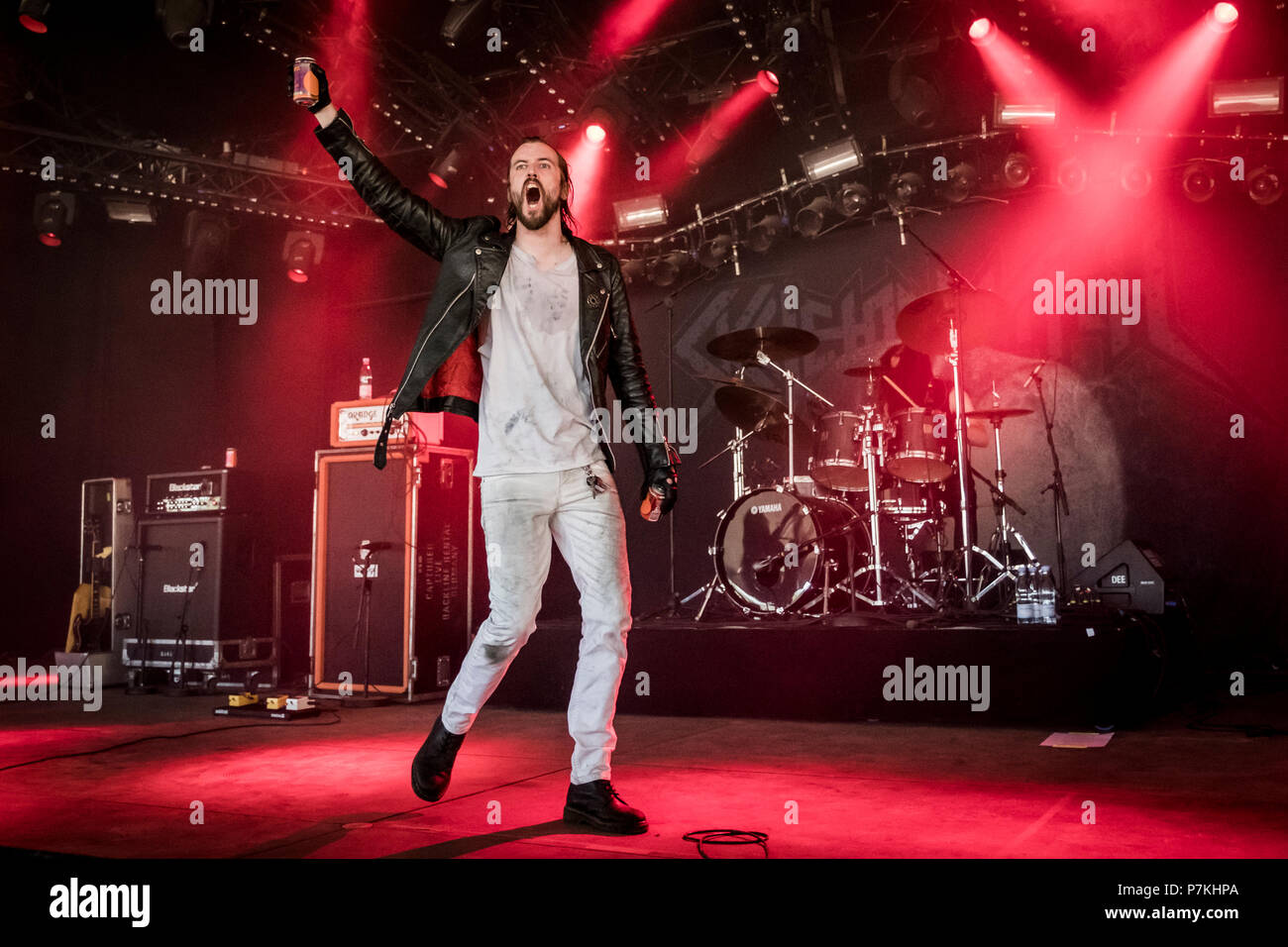 Roskilde, Denmark. 6th July 2018. The American extreme metal band Skeletonwitch performs a live concert at during the Danish music festival Roskilde Festival 2018. Here vocalist Adam Clemans is seen live on stage. (Photo credit: Gonzales Photo - Kim M. Leland). Credit: Gonzales Photo/Alamy Live News - Stock Image