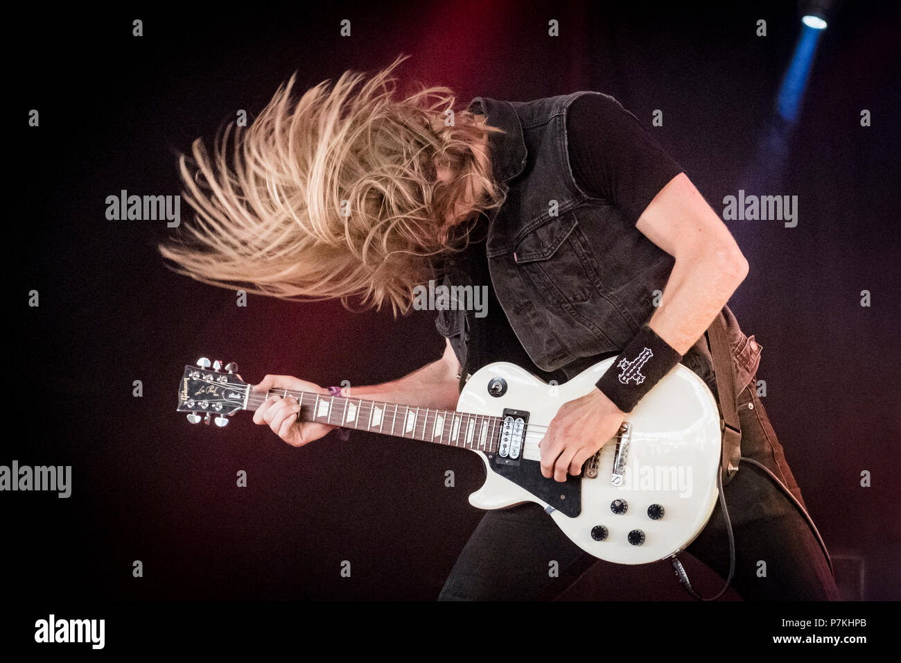 Roskilde, Denmark. 6th July 2018. The American extreme metal band Skeletonwitch performs a live concert at during the Danish music festival Roskilde Festival 2018. Here guitarist Scott Hedrick a.k.a. Scunty D is seen live on stage. (Photo credit: Gonzales Photo - Kim M. Leland). Credit: Gonzales Photo/Alamy Live News - Stock Image