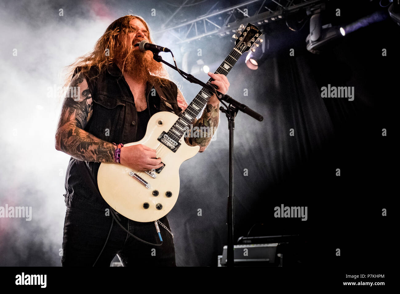 Roskilde, Denmark. 6th July 2018. The American extreme metal band Skeletonwitch performs a live concert at during the Danish music festival Roskilde Festival 2018. Here guitarist Nate Garnette a.k.a. S N8 Feet Under is seen live on stage. (Photo credit: Gonzales Photo - Kim M. Leland). Credit: Gonzales Photo/Alamy Live News - Stock Image