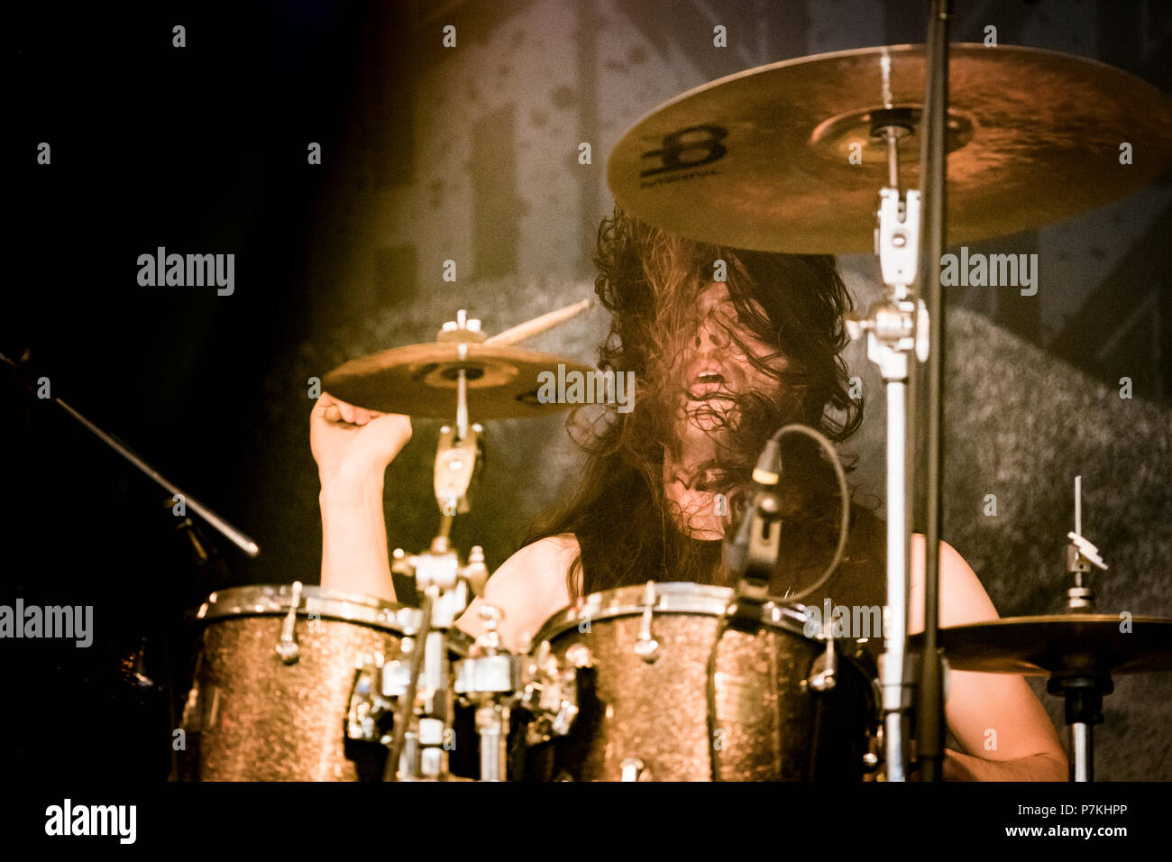 Roskilde, Denmark. 6th July 2018. The American extreme metal band Skeletonwitch performs a live concert at during the Danish music festival Roskilde Festival 2018. Here drummer Jon Rice is seen live on stage. (Photo credit: Gonzales Photo - Kim M. Leland). Credit: Gonzales Photo/Alamy Live News - Stock Image
