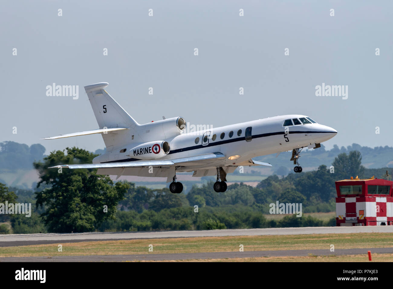 French Navy Falcon 50M landing at Yeovilton, Somerset UK  This maritme patrol aircraft will form part of the flying display at the International Air Day  RNAS Yeovilton, Somerset, UK. - Stock Image